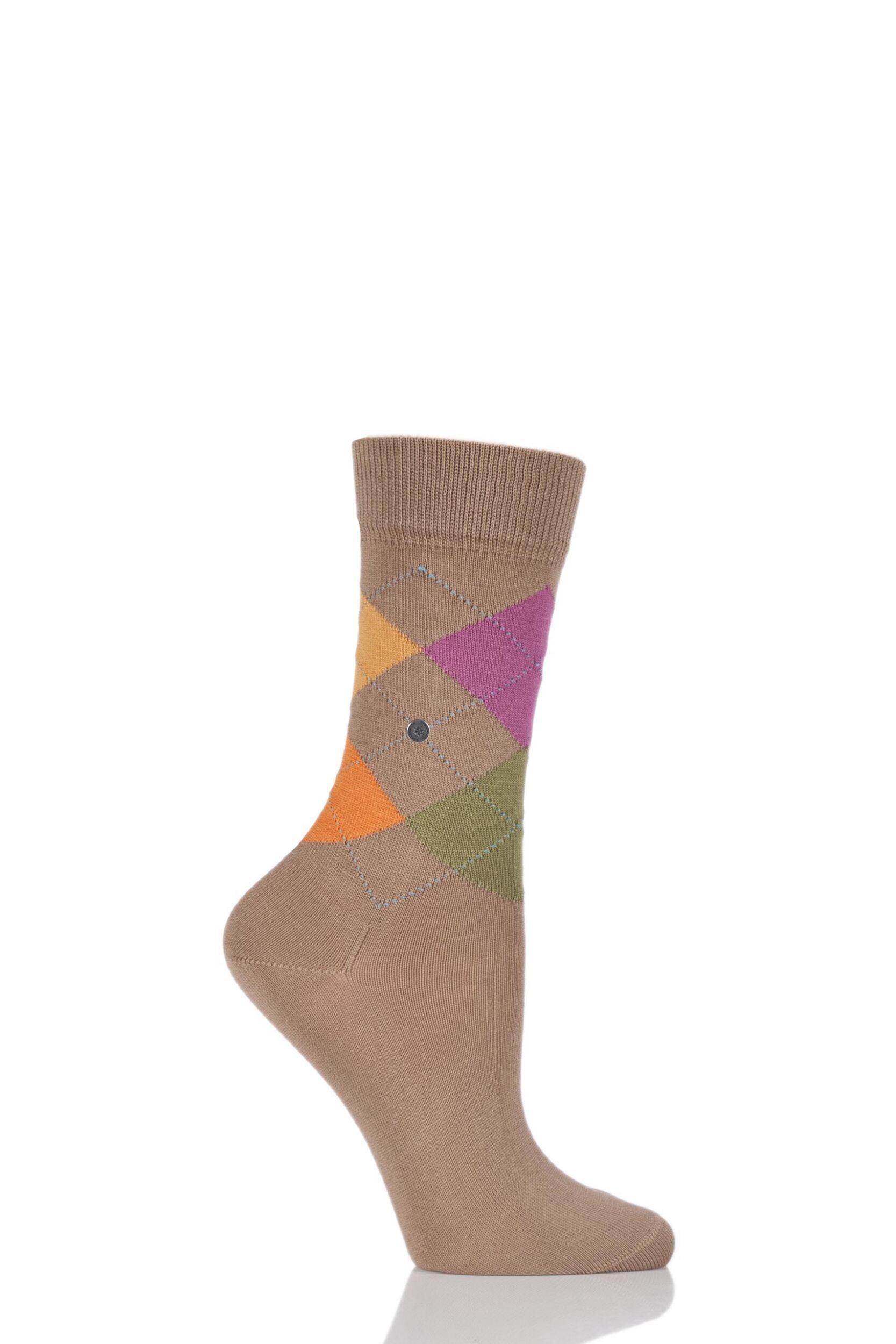 Ladies 1 pair burlington covent garden cotton argyle socks for Garden socks