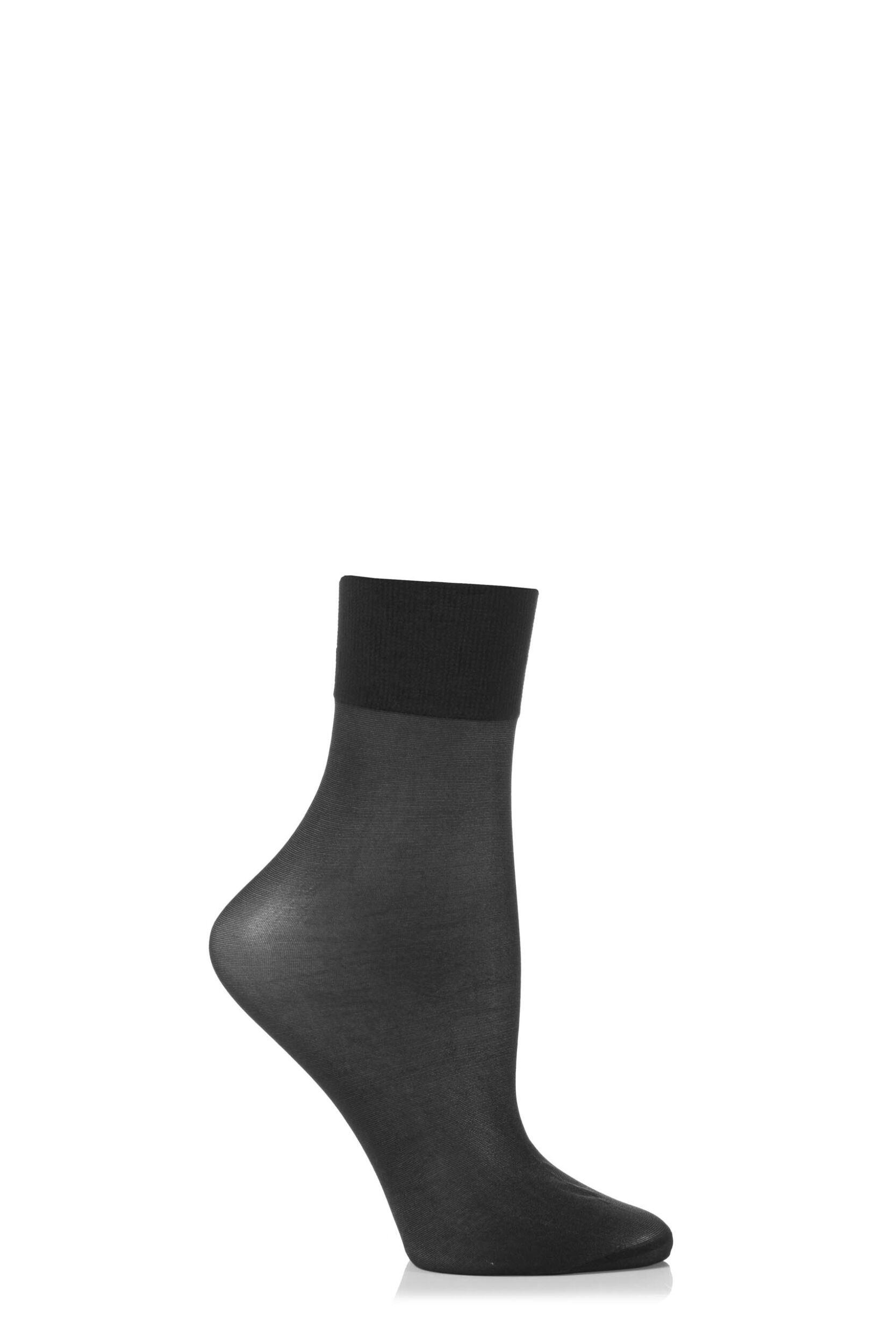 Ladies 1 Pair Falke Seidenglatt 15 Denier Transparent Shining Ankle Highs With Sensitive Top