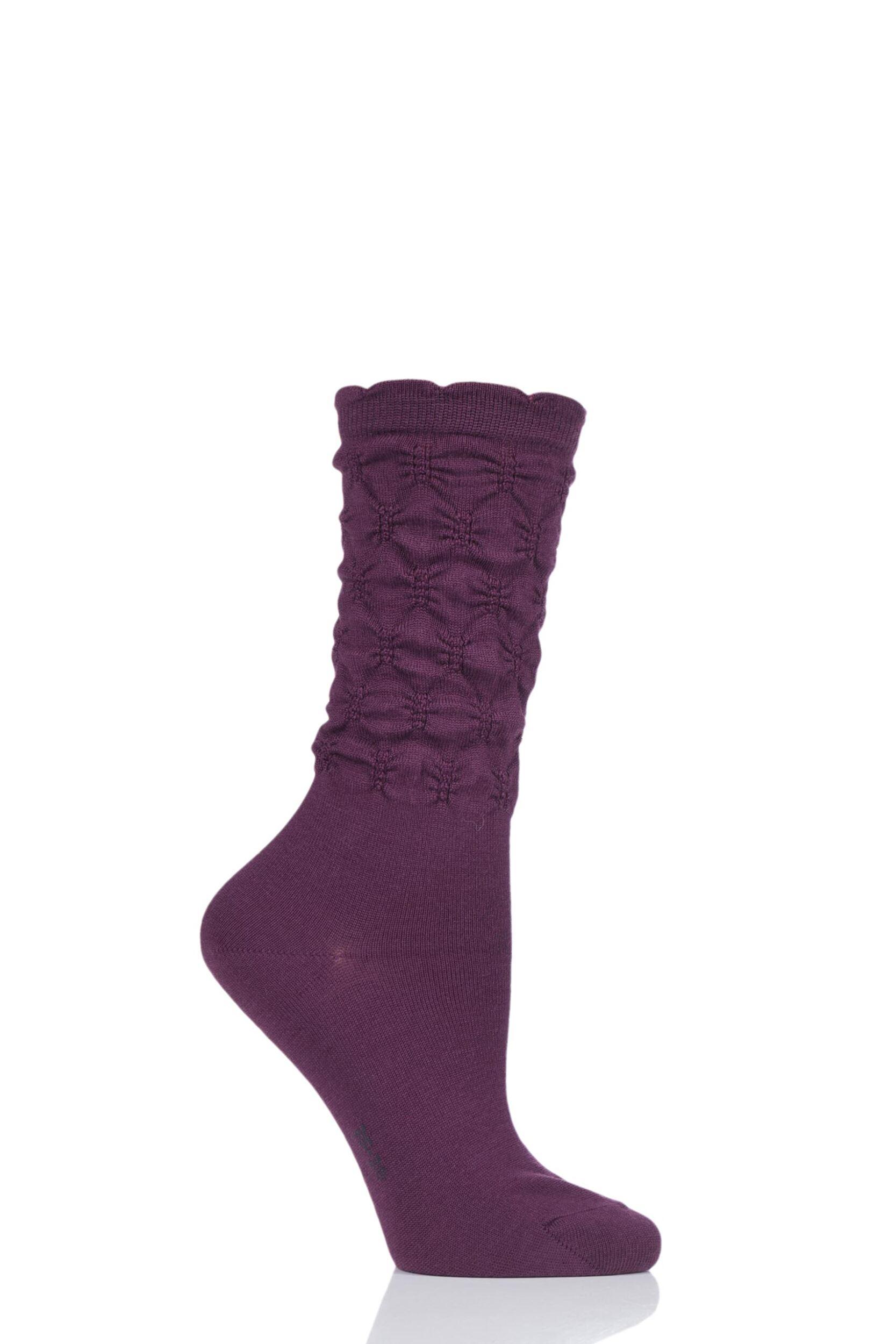 1 pair purple crumpled diamond rib virgin wool socks ladies 2.5-5 ladies - falke