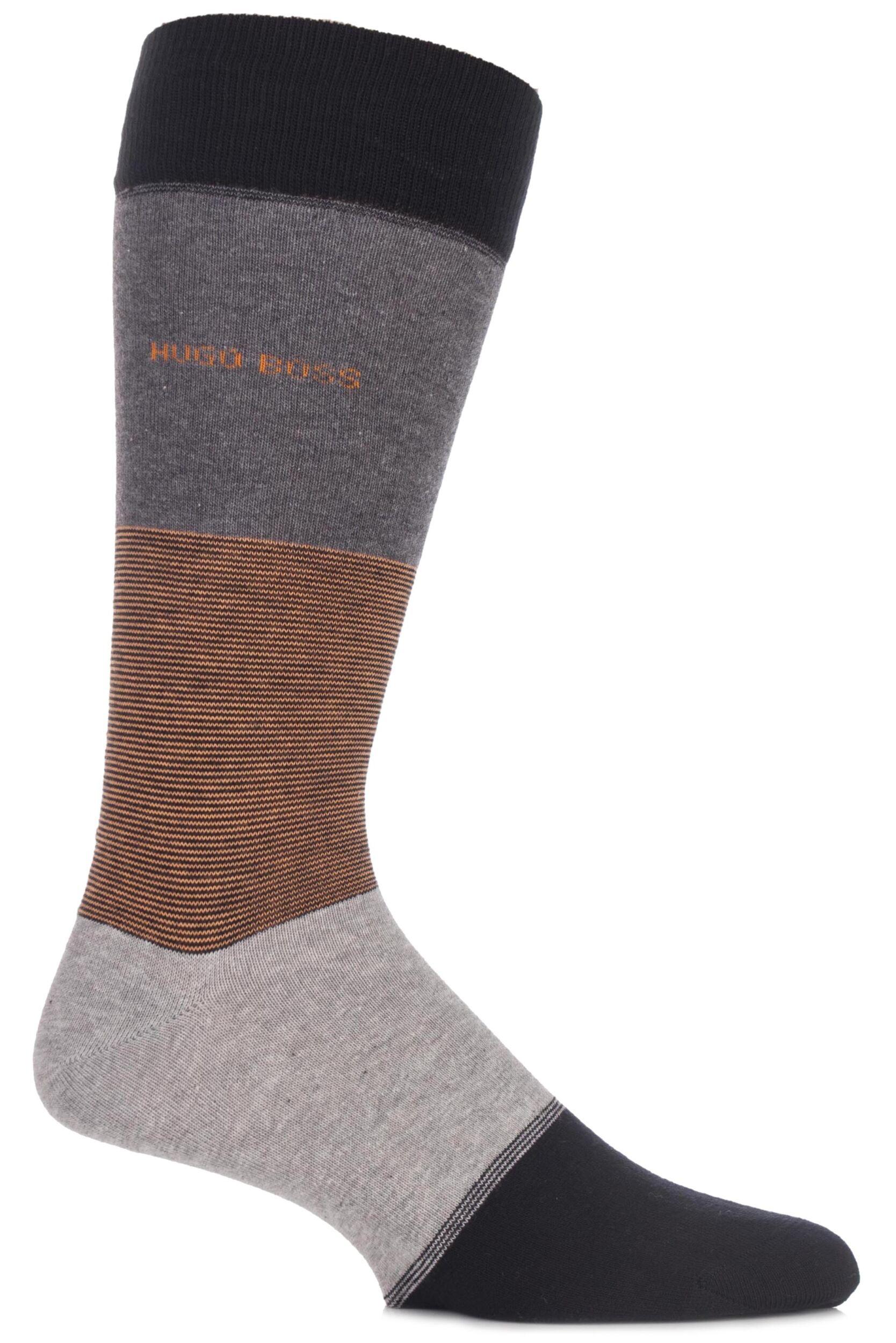 Men's Socks Mens 1 Pair Hugo Boss Banded Striped Combed Cotton Socks