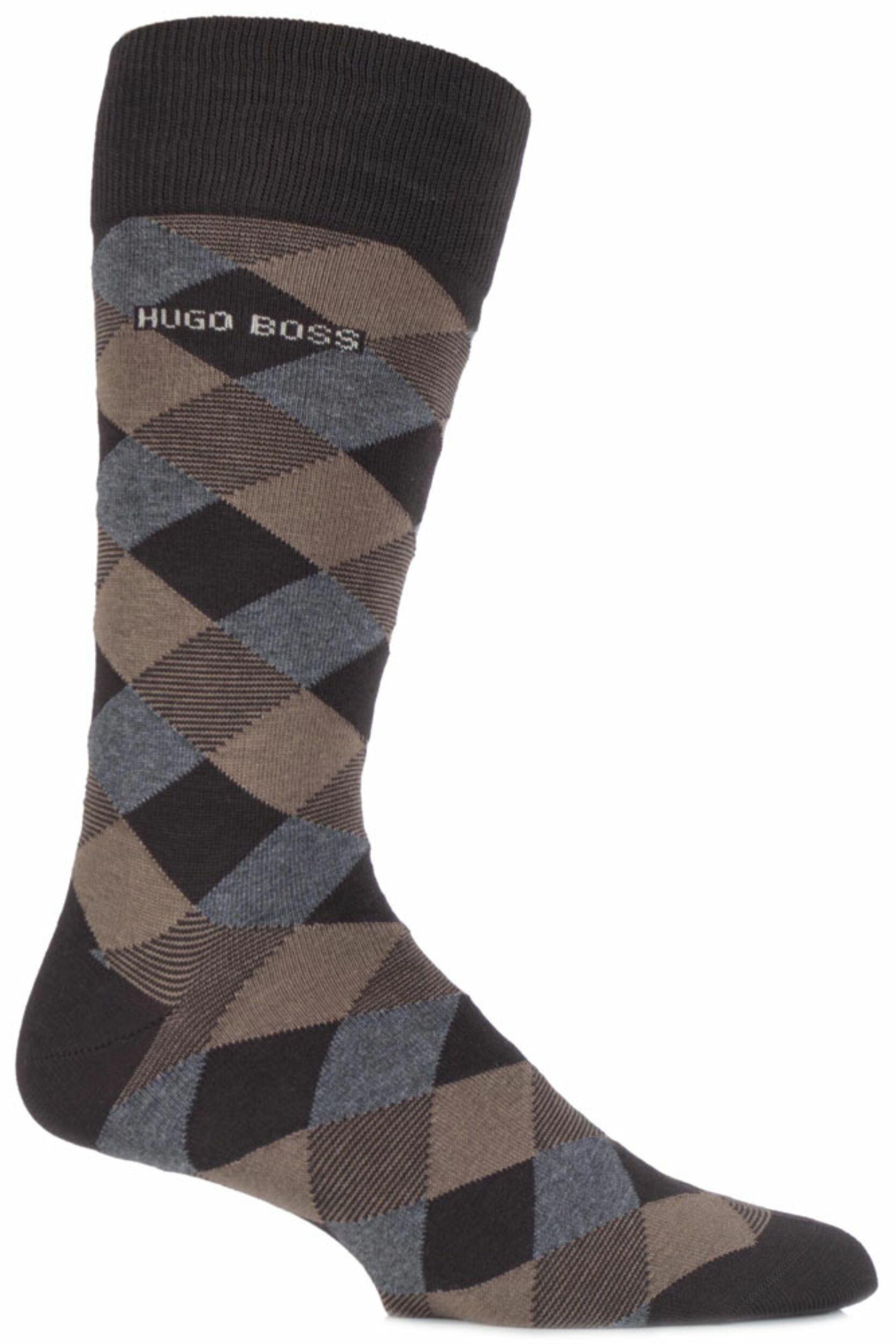 Men's Socks Mens 1 Pair Hugo Boss Combed Cotton Diamond Patterned Socks