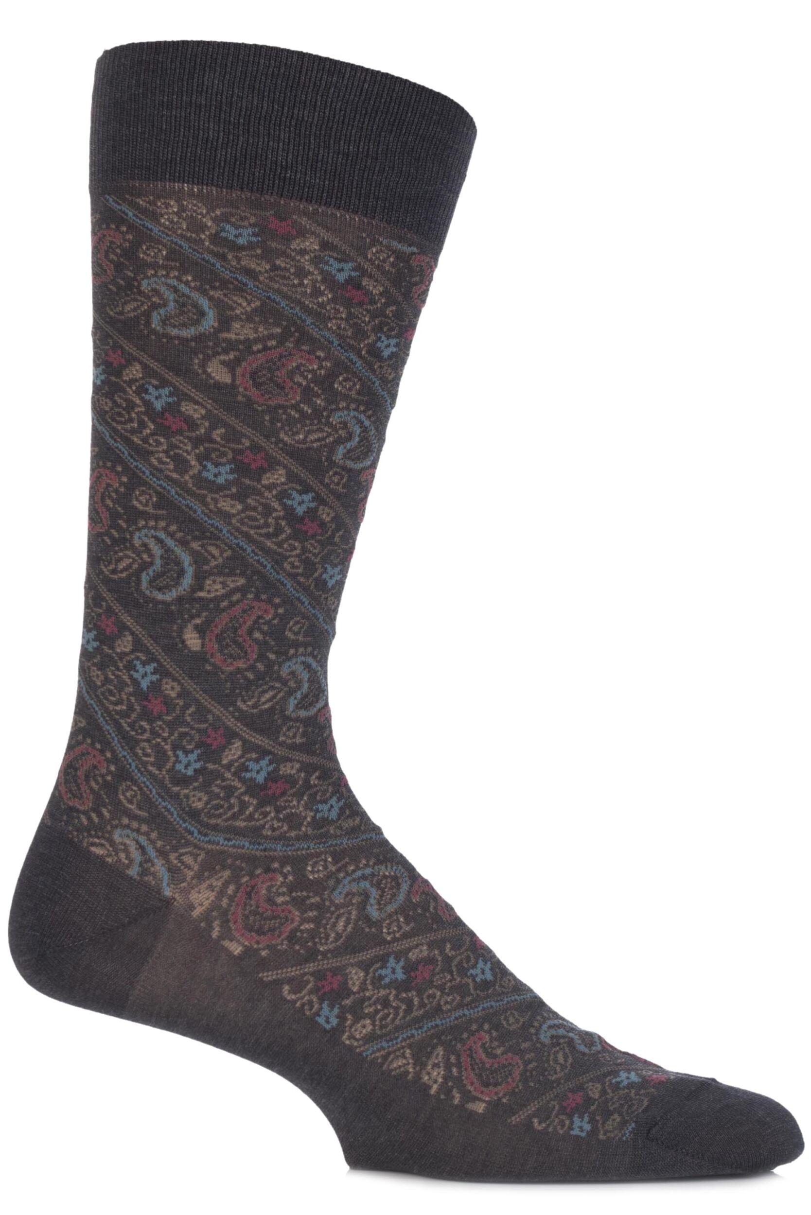 Men's Socks Mens 1 Pair Pantherella Vintage Allover Paisley Cotton Socks