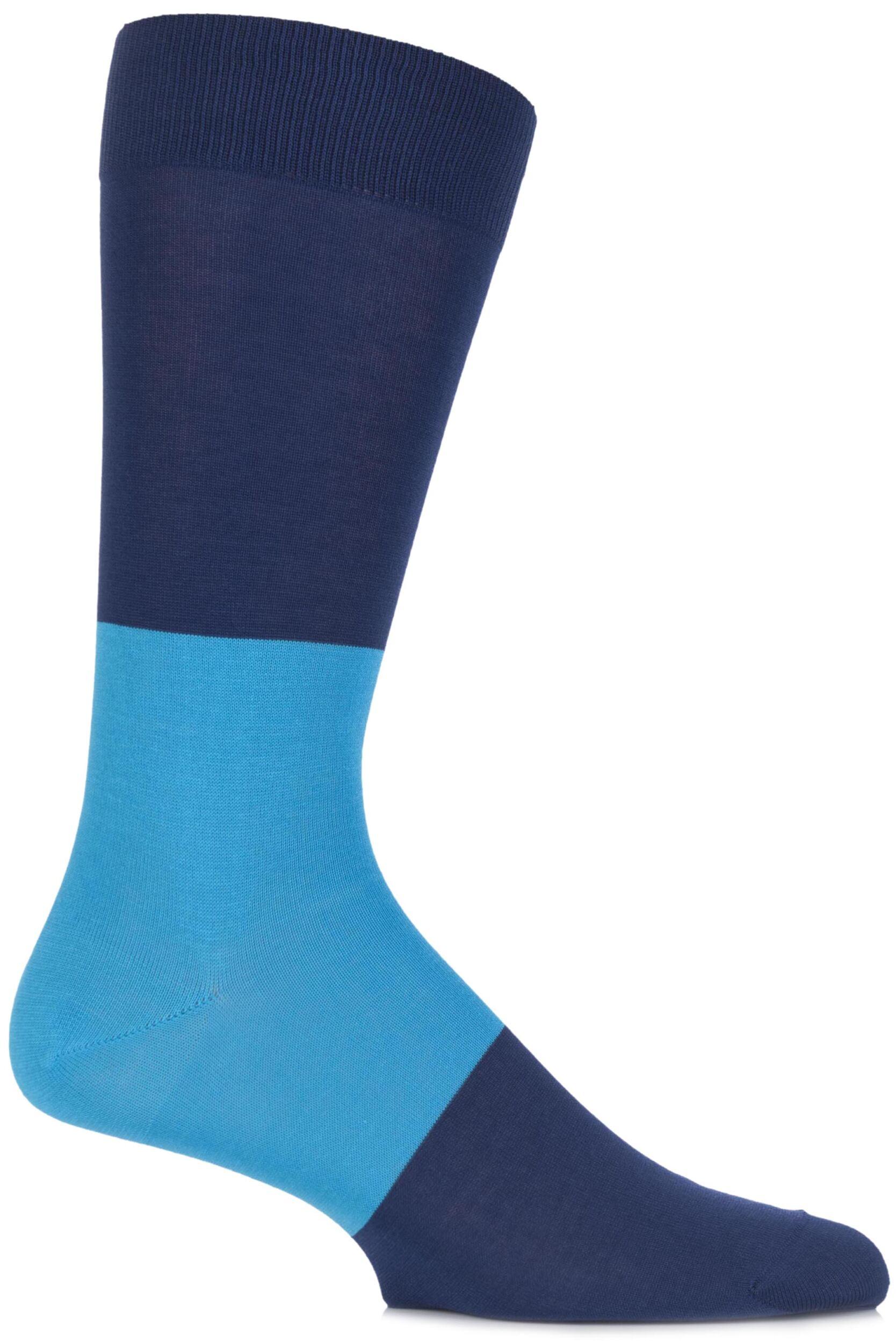 Men's Socks Mens 1 Pair Richard James Sahara Block Striped Cotton Socks