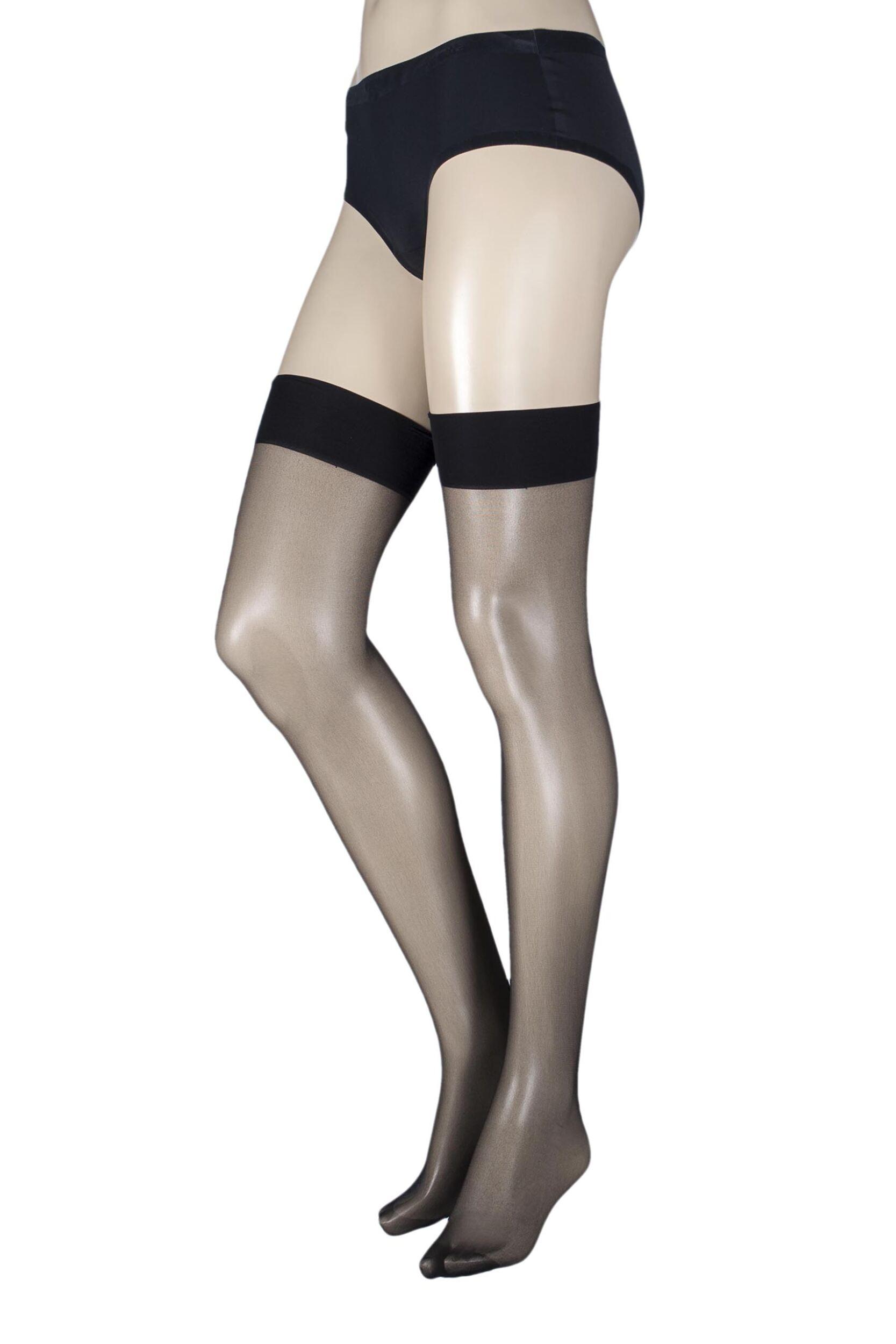 Plus Size Ladies 1 Pair Black 15 Denier Gloss Tight with Lycra