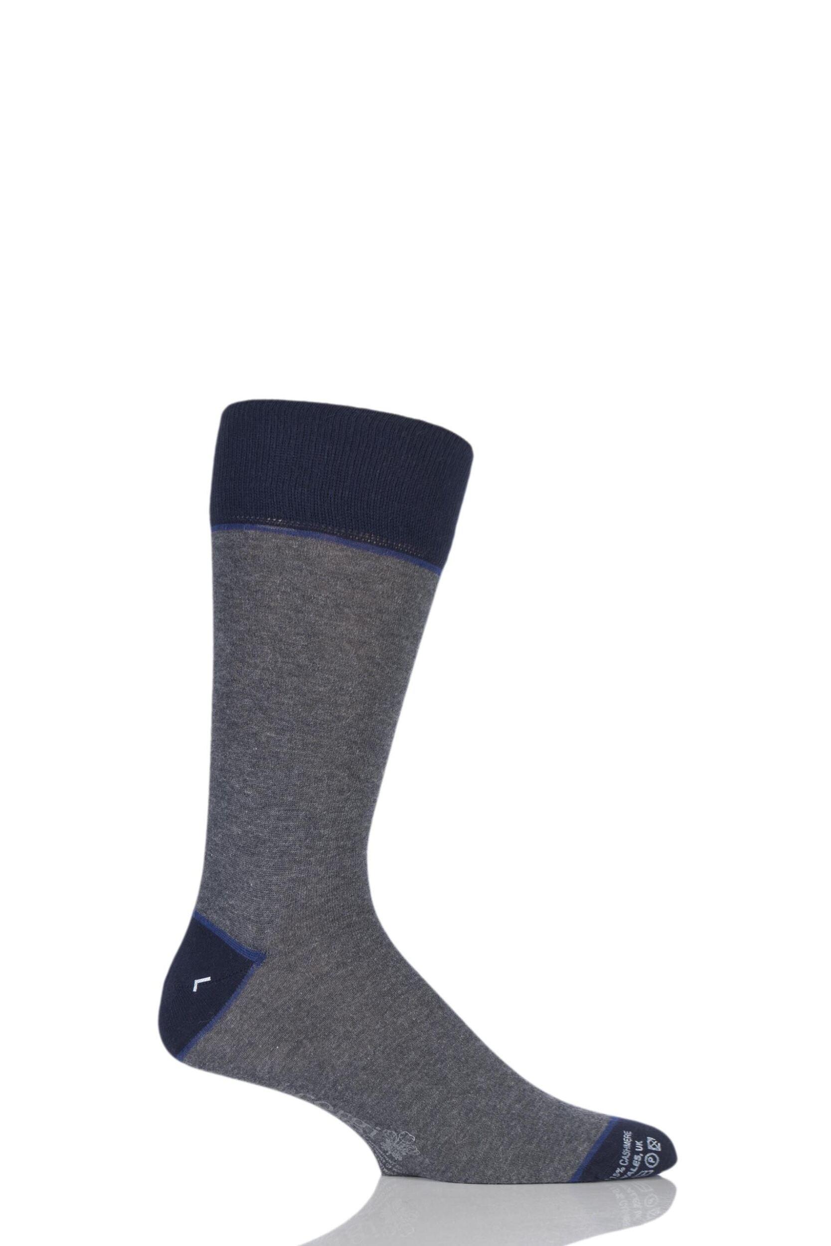 Mens 1 Pair Corgi Lightweight Cashmere Blend Contrast Heel, Toe and Welt Socks