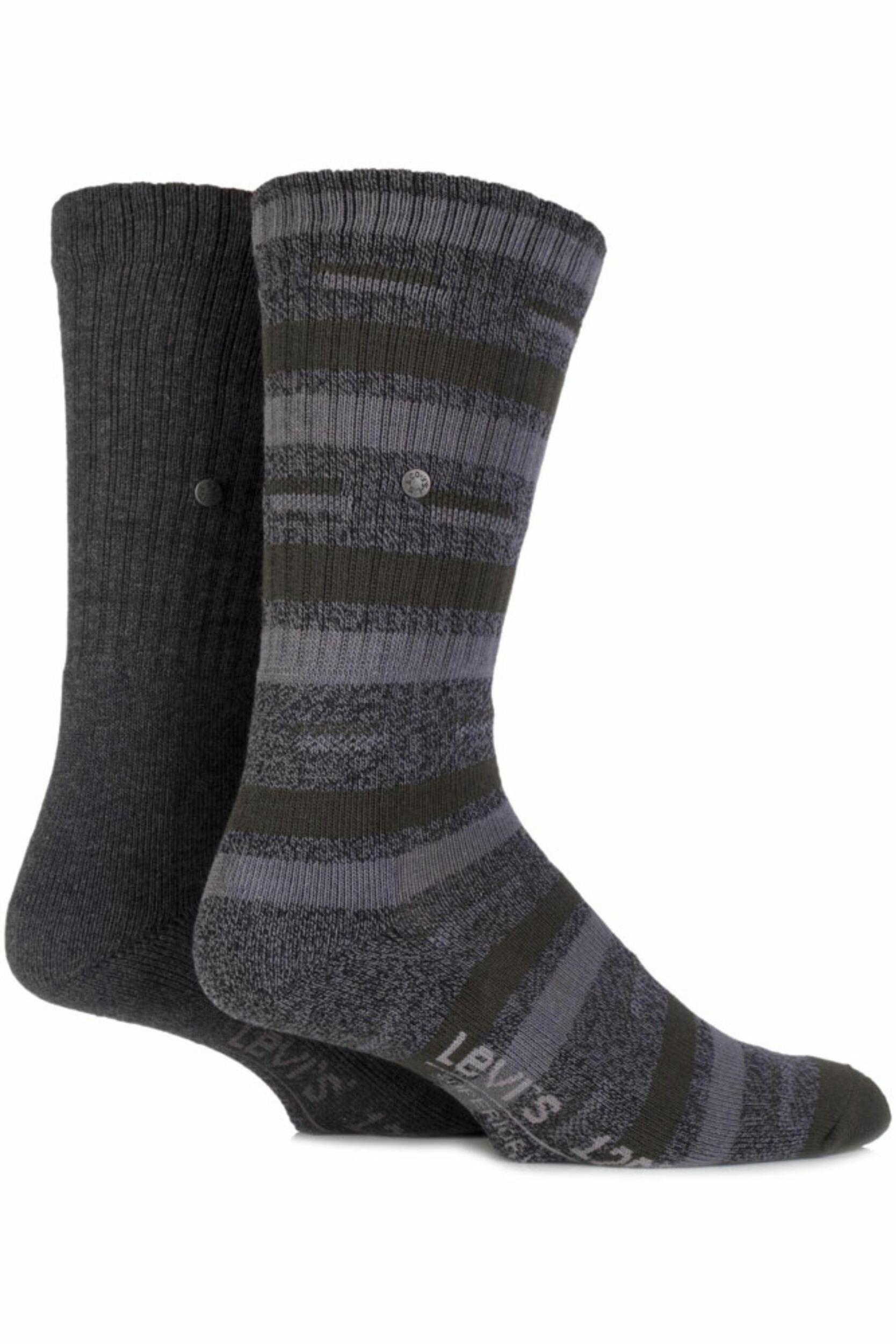 Image of Mens 2 Pair Levis 120SF Classic Rib Striped and Plain Cushioned Socks