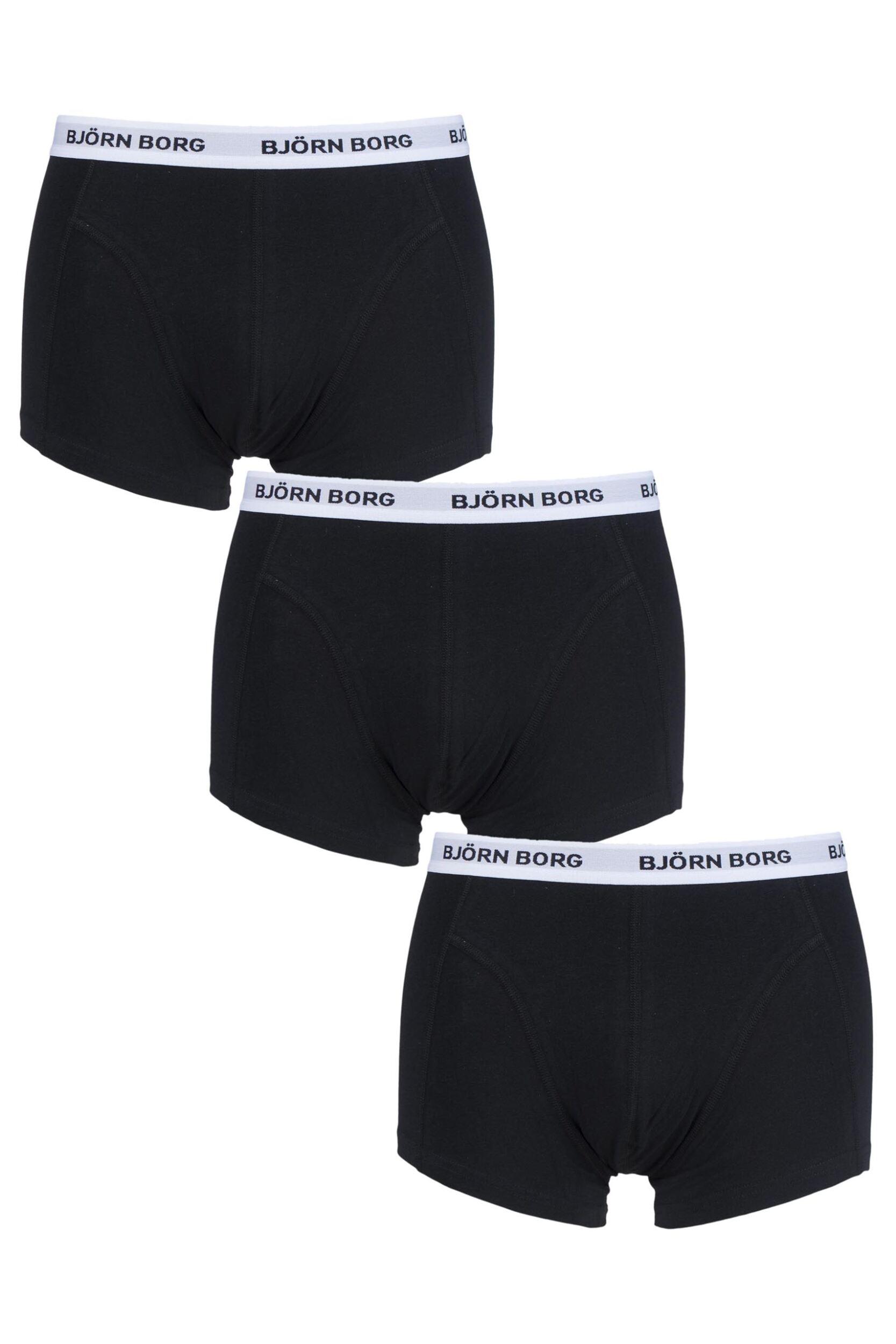 mens 3 pack bjorn borg contrast solid boxer shorts ebay. Black Bedroom Furniture Sets. Home Design Ideas