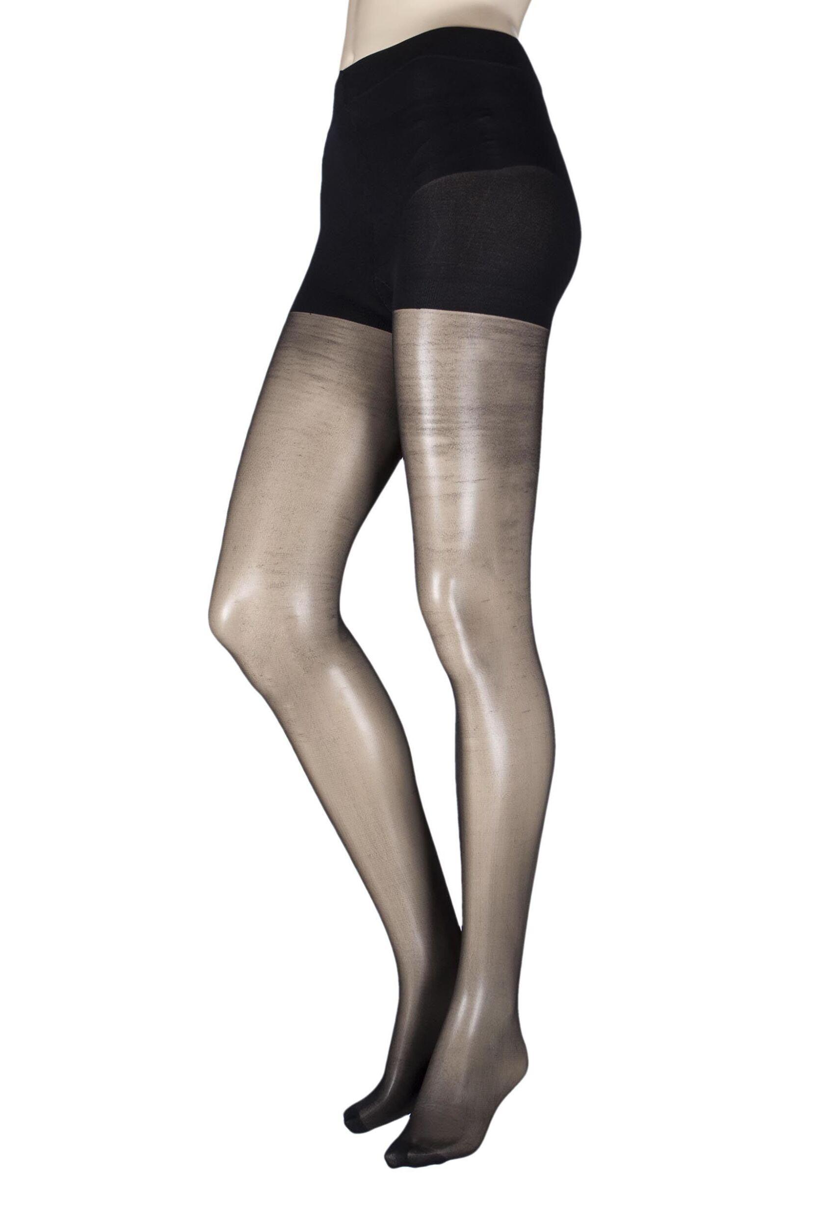 Image of 1 Pair Black 15 Denier Soft Shine Body Shaping Tights Ladies Small/Medium - Pretty Legs