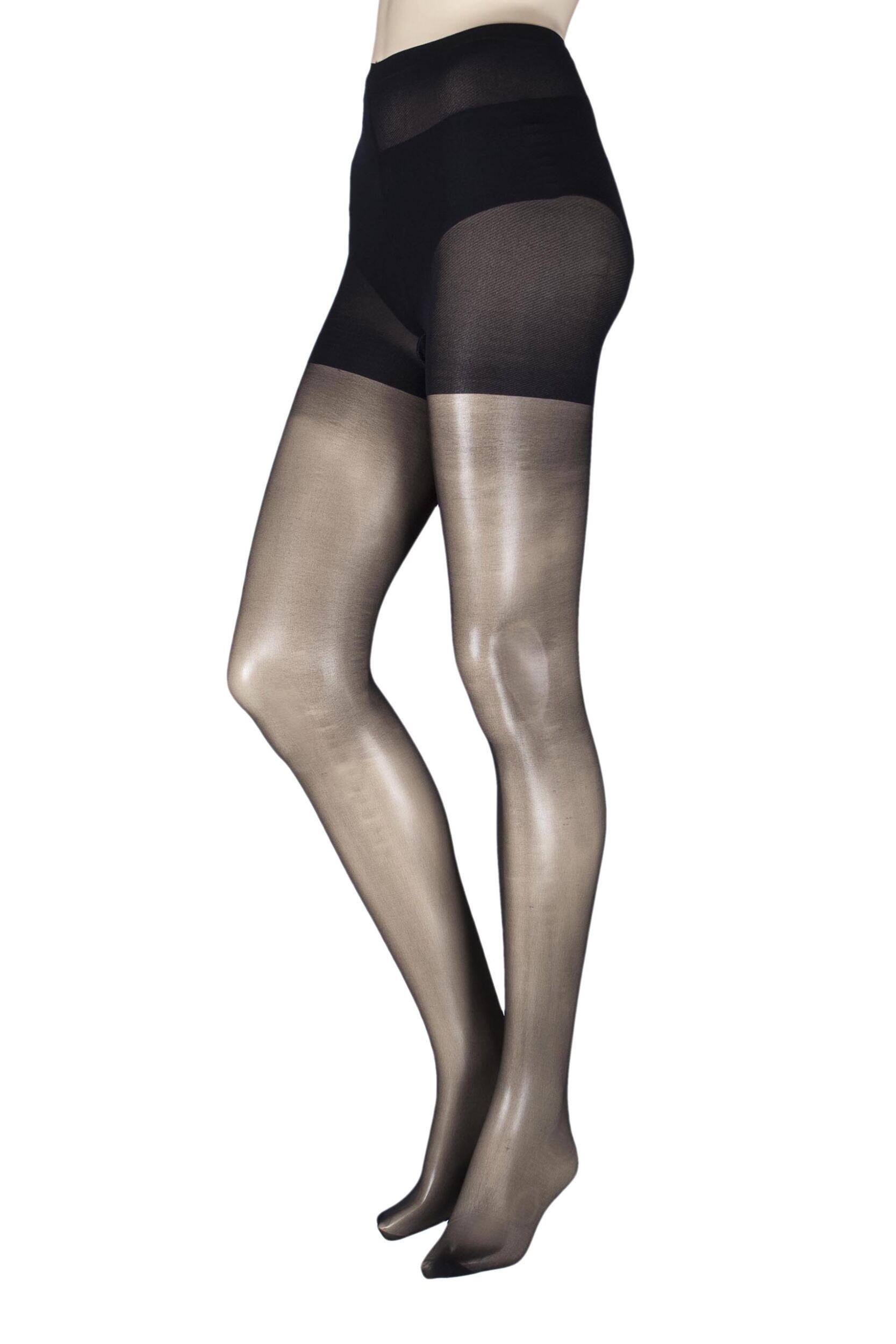 Image of 1 Pair Black 15 Denier Ladder Resist Fusion Tights Ladies Medium/Large - Pretty Legs