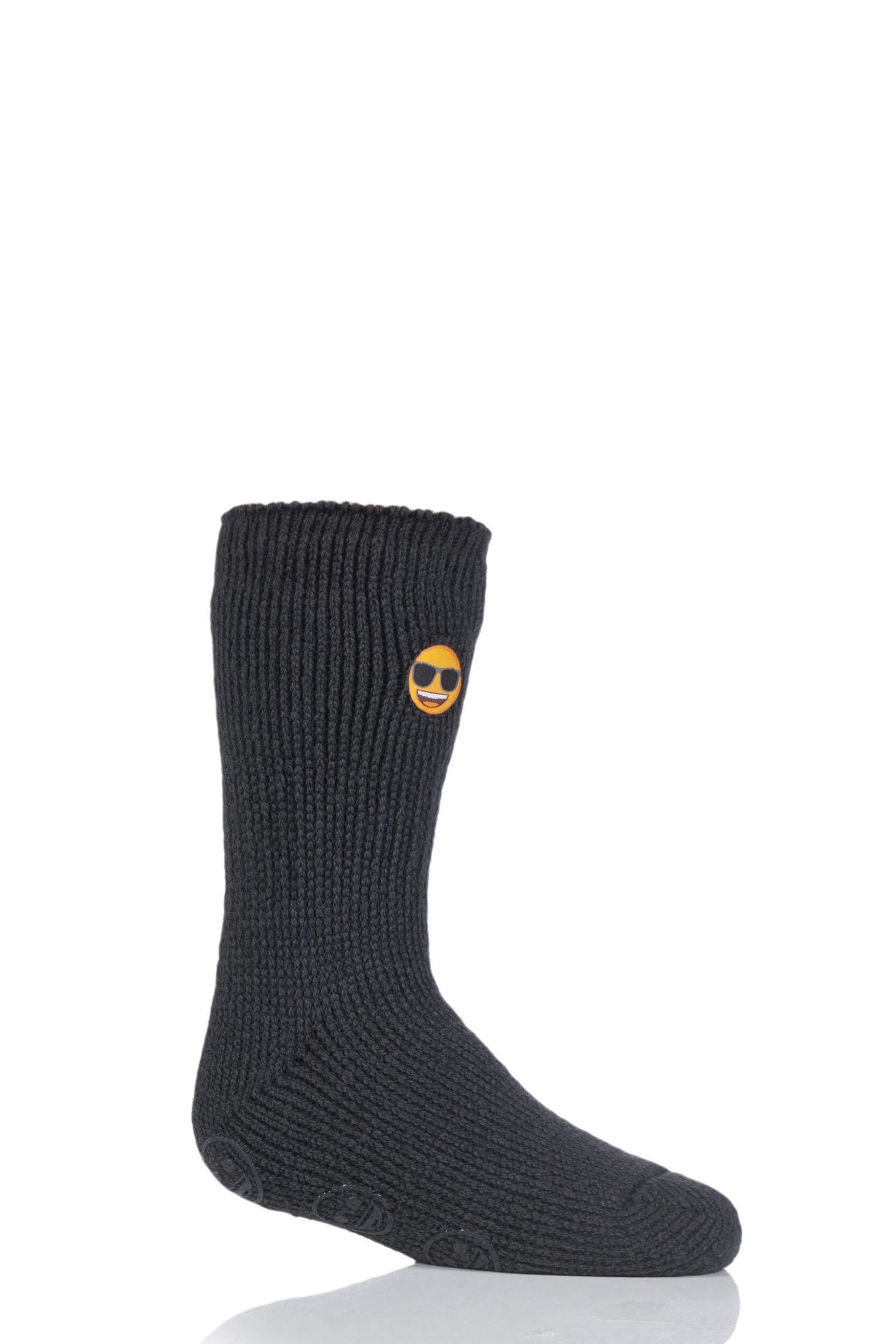 Image of 1 Pair Charcoal Emoji Sunglasses Face Slipper Socks Kids Unisex 12.5-3.5 Kids (8-12 Years) - Heat Holders
