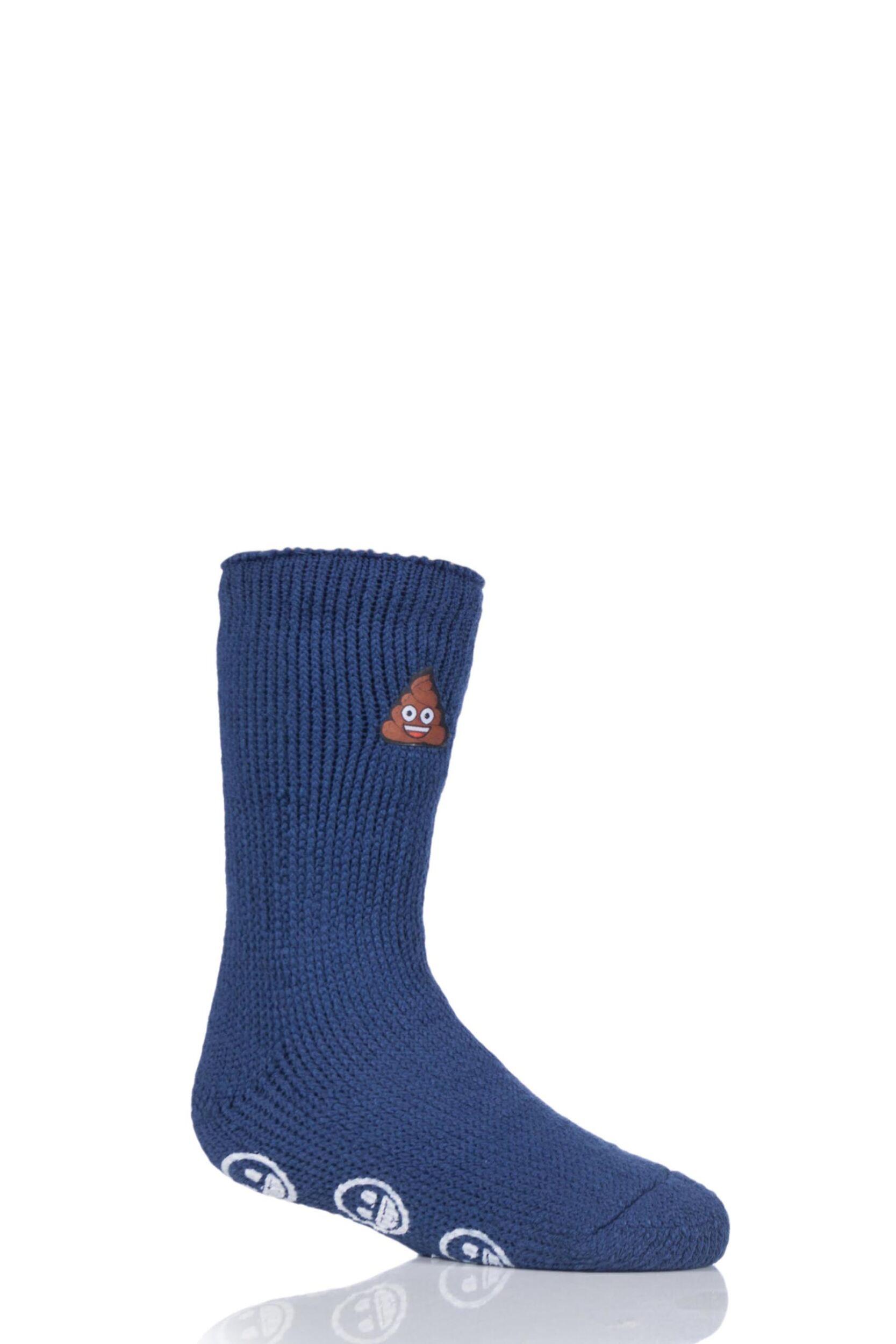 Image of 1 Pair Blue Emoji Poo Face Slipper Socks Kids Unisex 12.5-3.5 Kids (8-12 Years) - Heat Holders