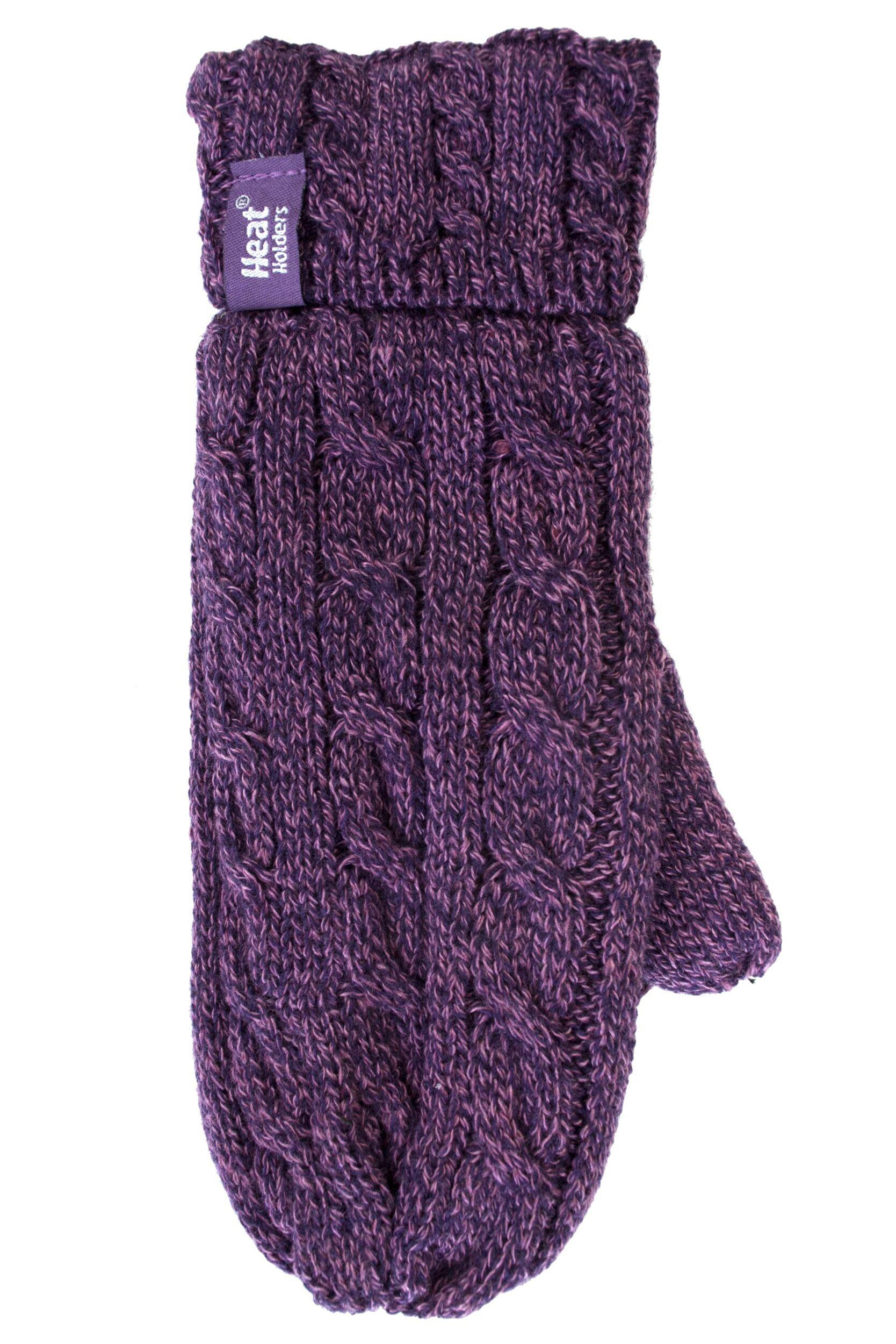 Ladies 1 Pair Heat Holders 2.5 Tog Heatweaver Yarn Mittens In Purple