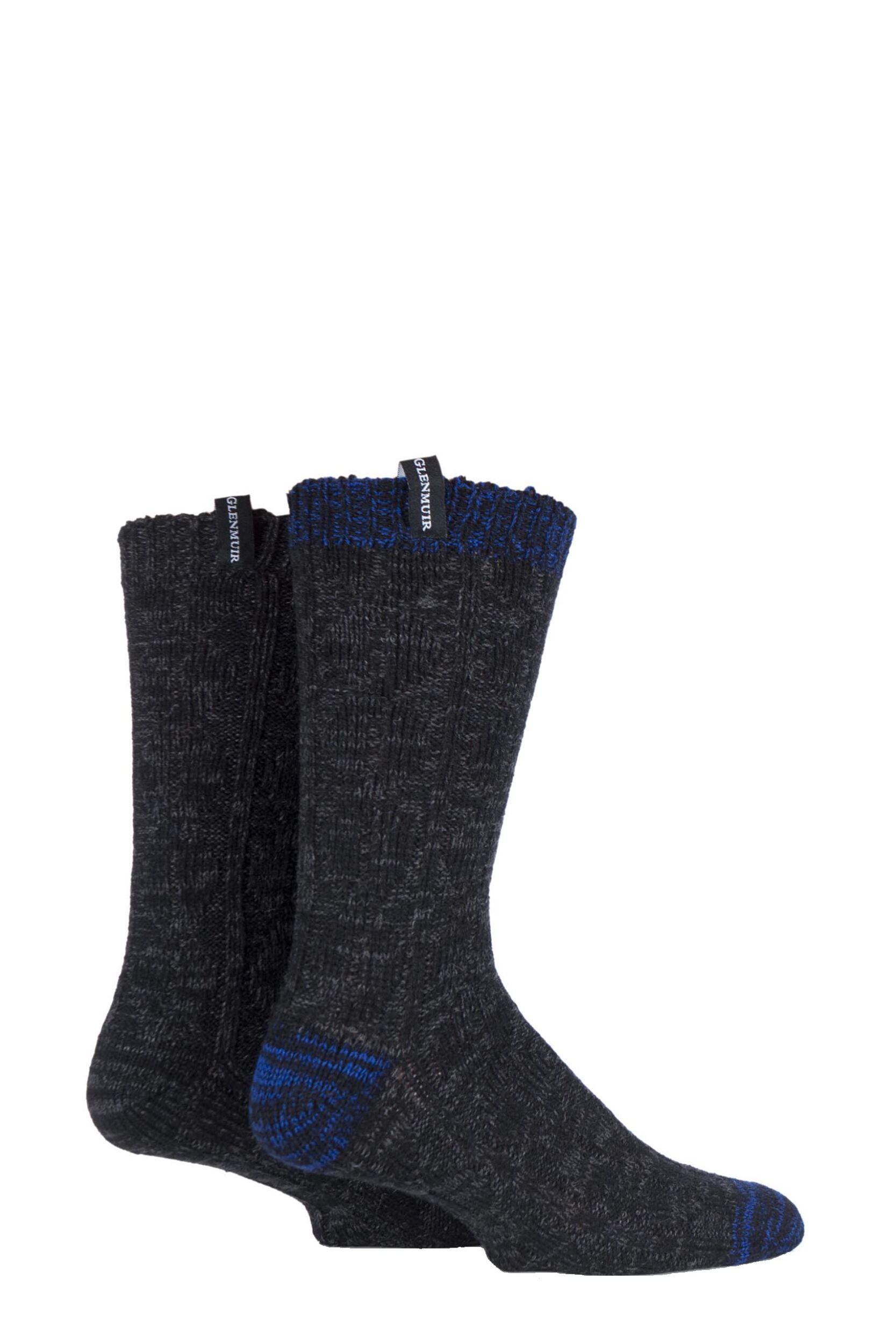Da-Uomo-2-Paio-Glenmuir-Misto-Lana-Merino-Cavo-Lavorato-a-maglia-Boot-Socks
