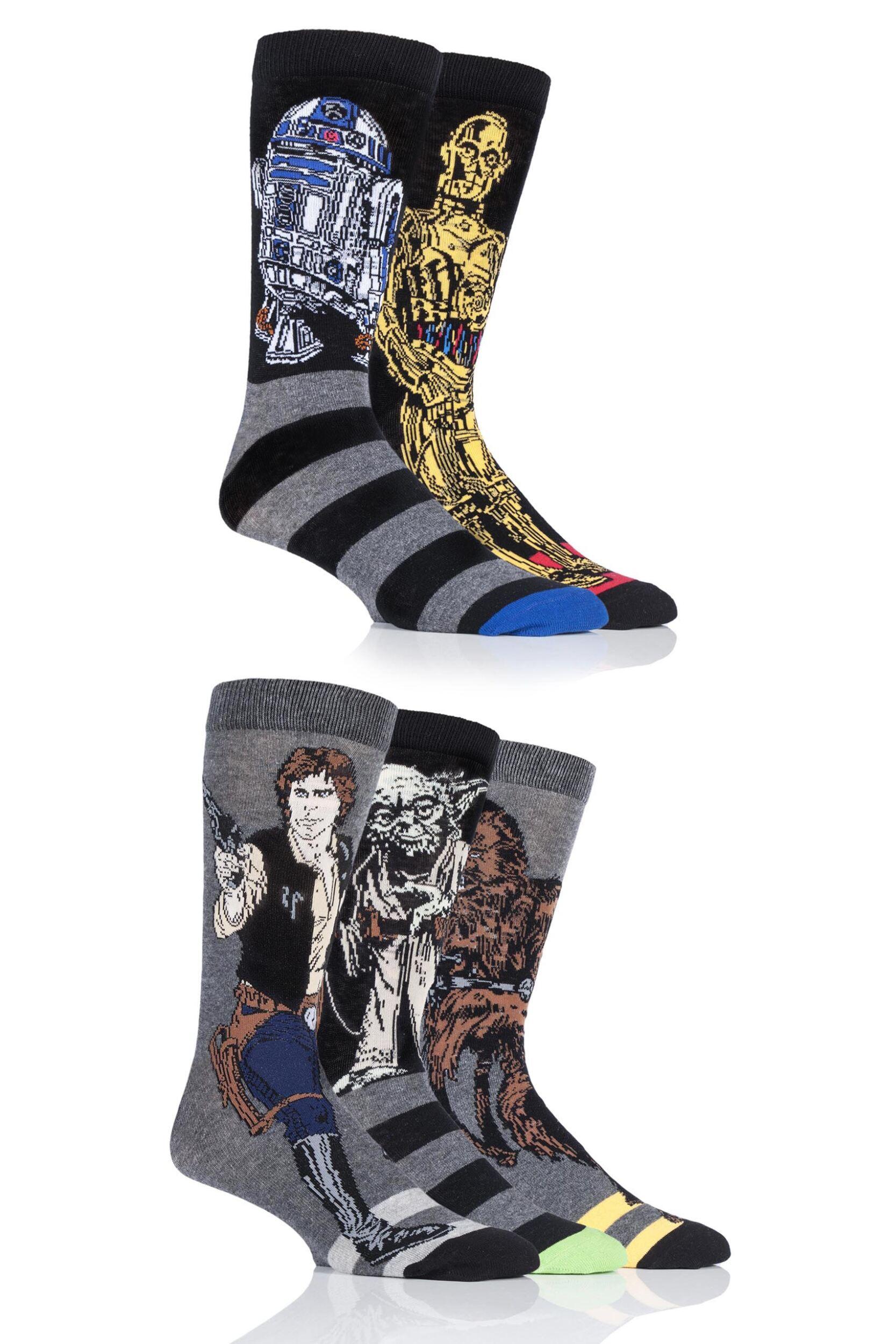 Mens 5 Pair SockShop Disney Star Wars Heroes Yoda, Chewbacca, C-3P0, R2-D2 and Han Solo Socks