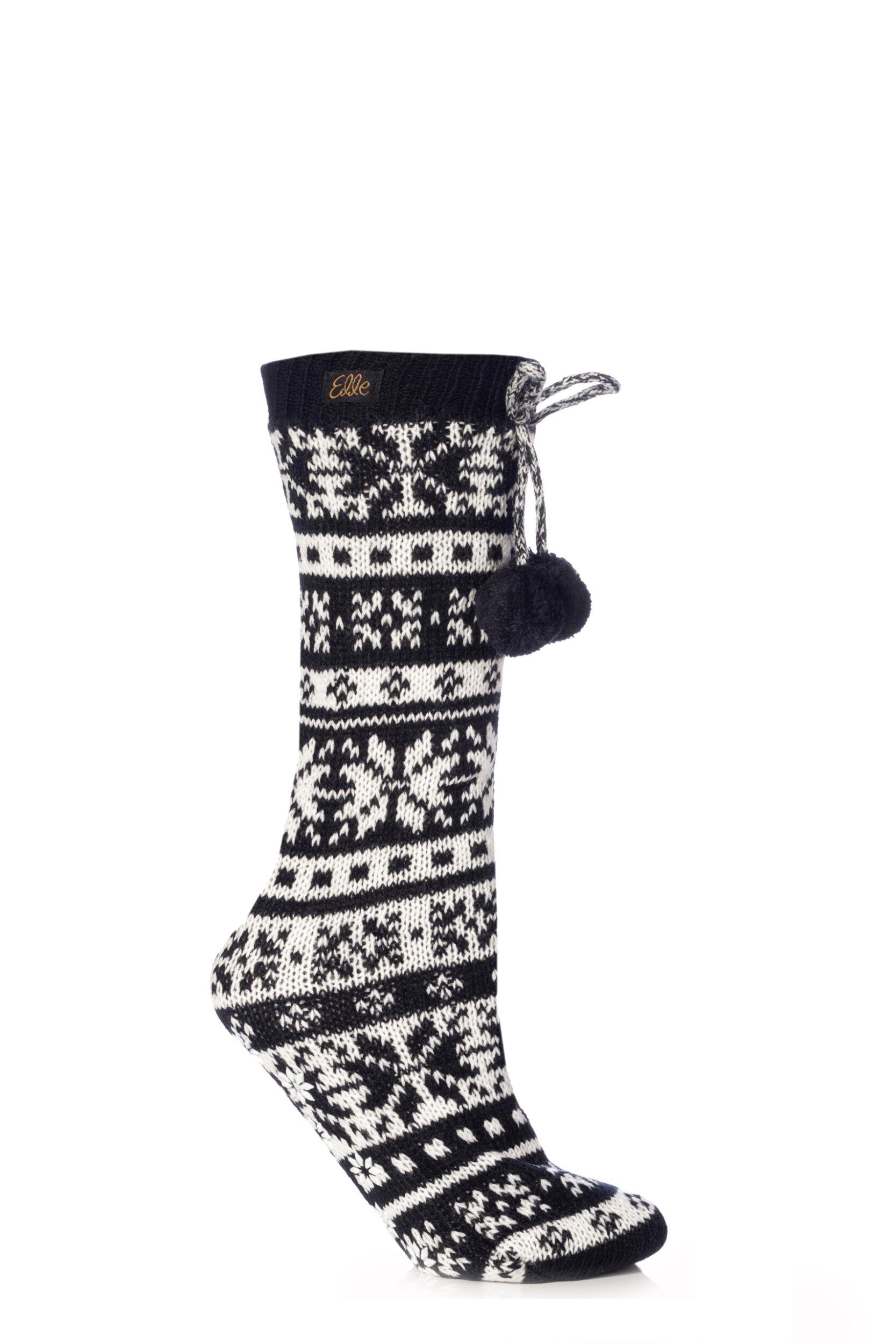 Ladies-1-Pair-Elle-Stripe-Fairisle-Home-Knit-Bootie