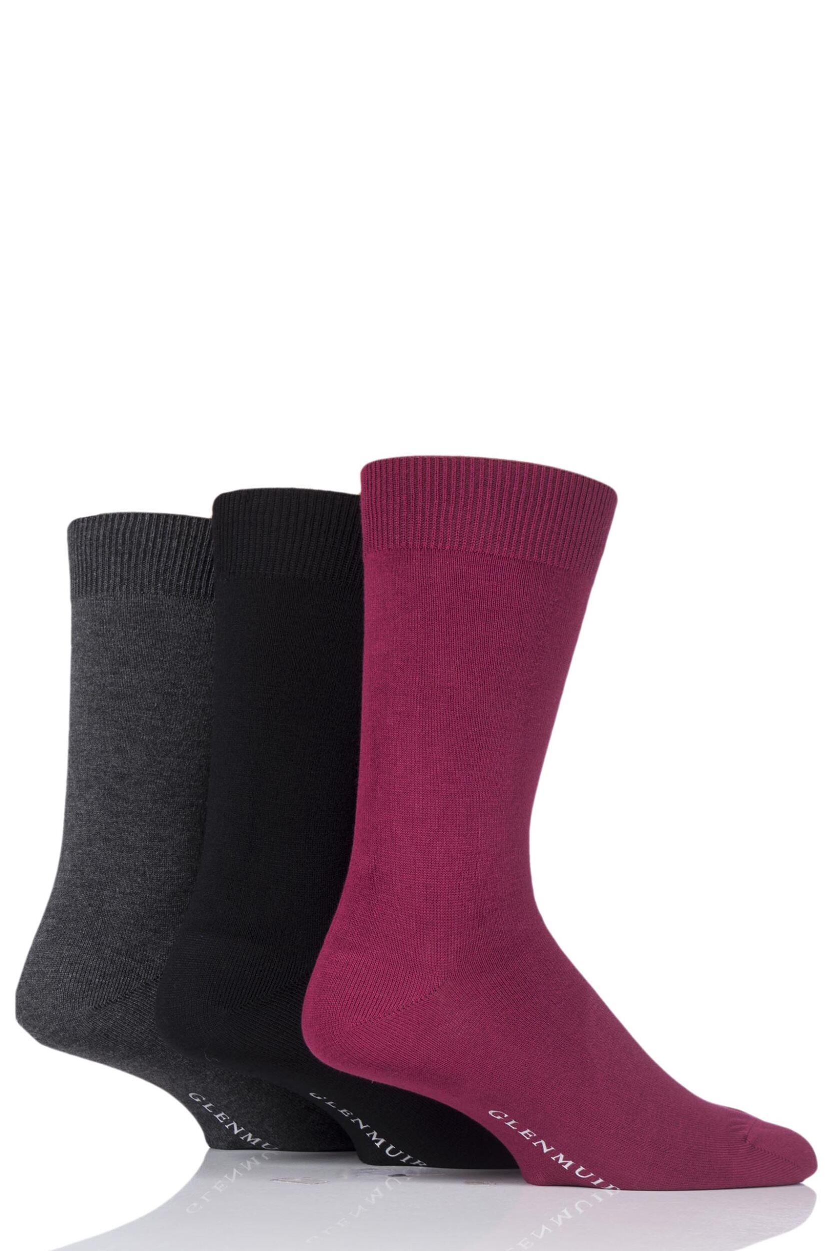 Men's Socks Mens 3 Pair Glenmuir Classic Bamboo Plain Socks
