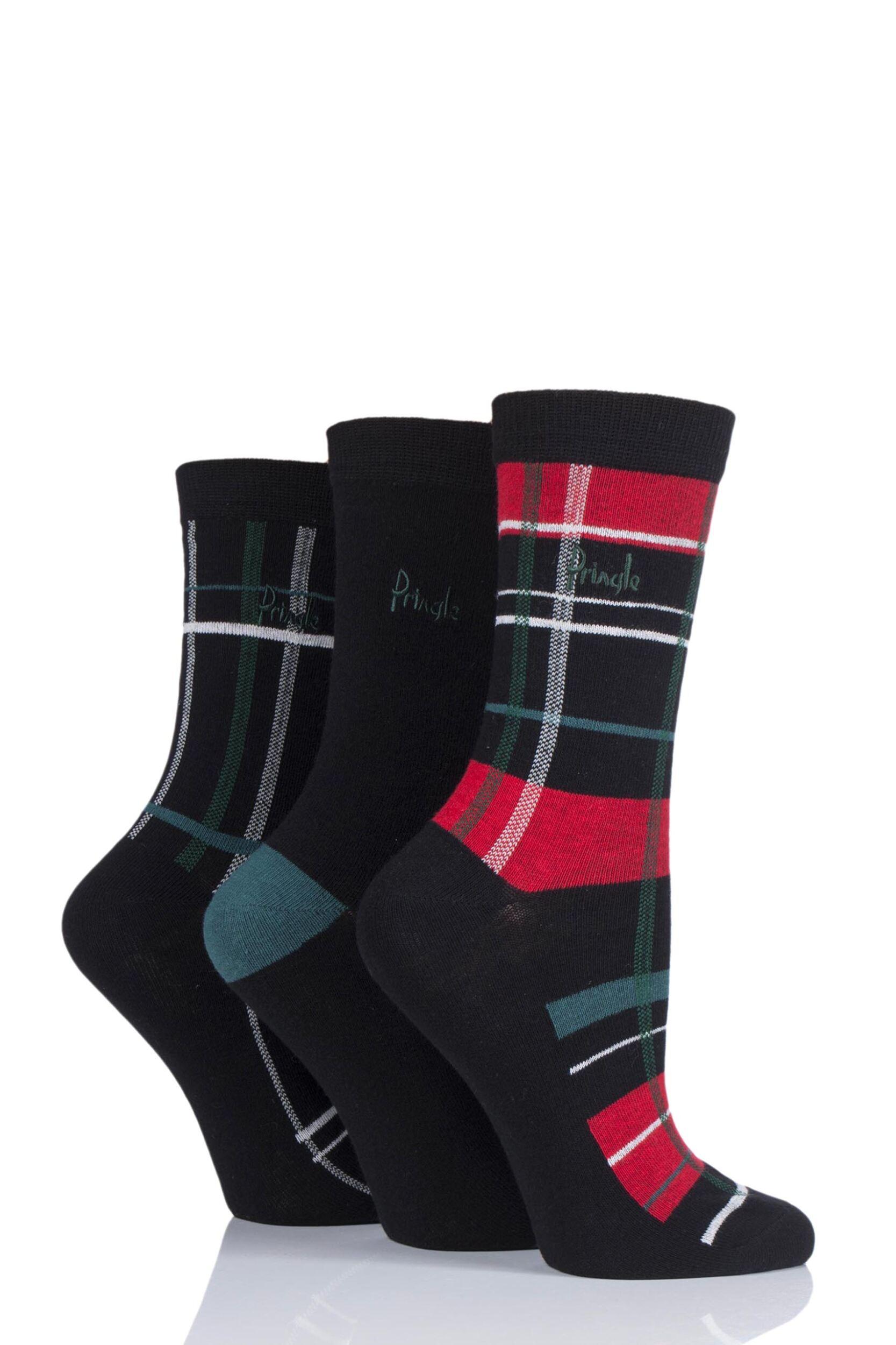 Ladies-3-Pair-Pringle-Tartan-Cotton-Socks