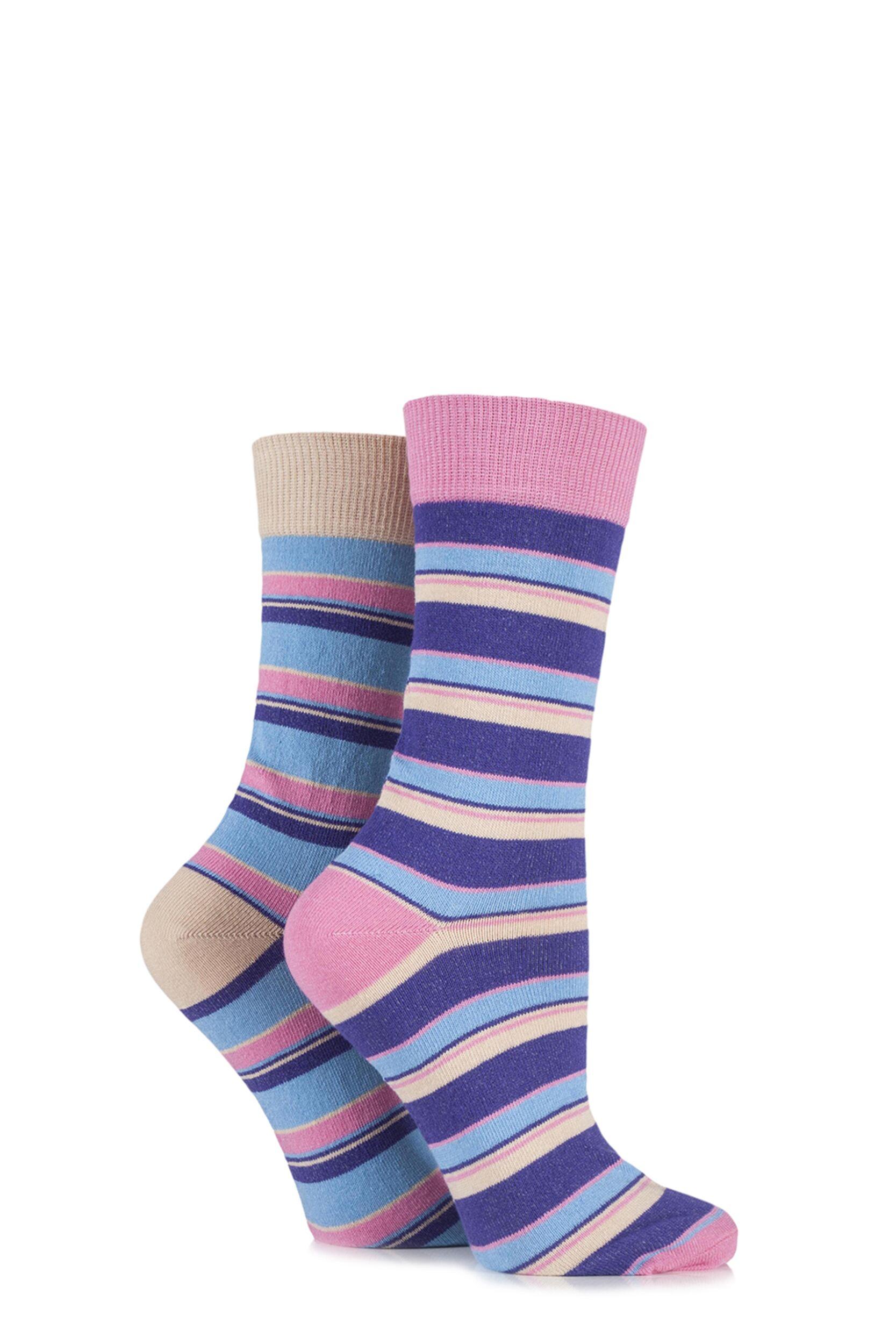 Ladies 2 Pair HJ Hall Boscastle Striped Cotton Socks