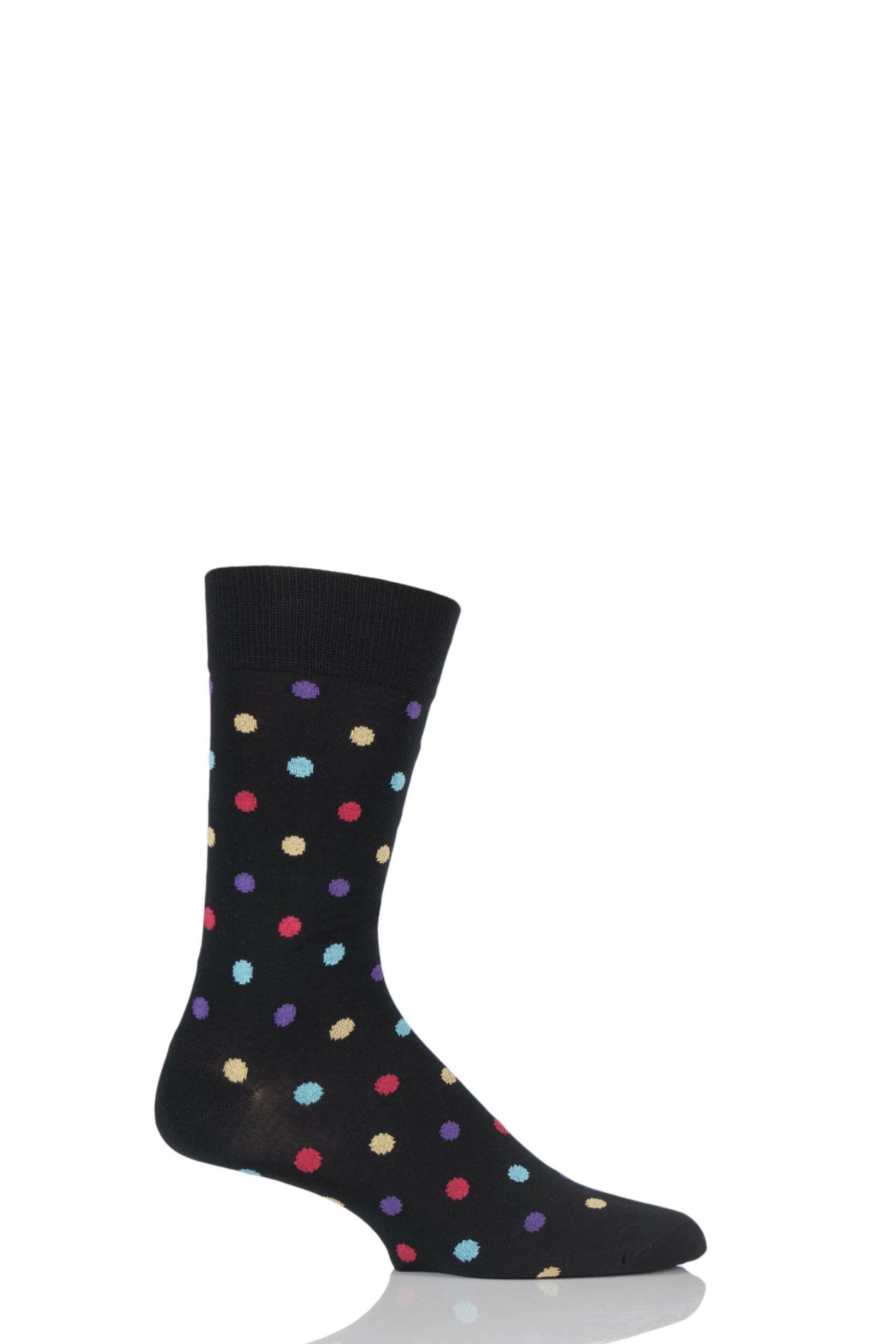 Mens 1 Pair HJ Hall Mercerised Cotton Washington Multi Coloured Spots Socks
