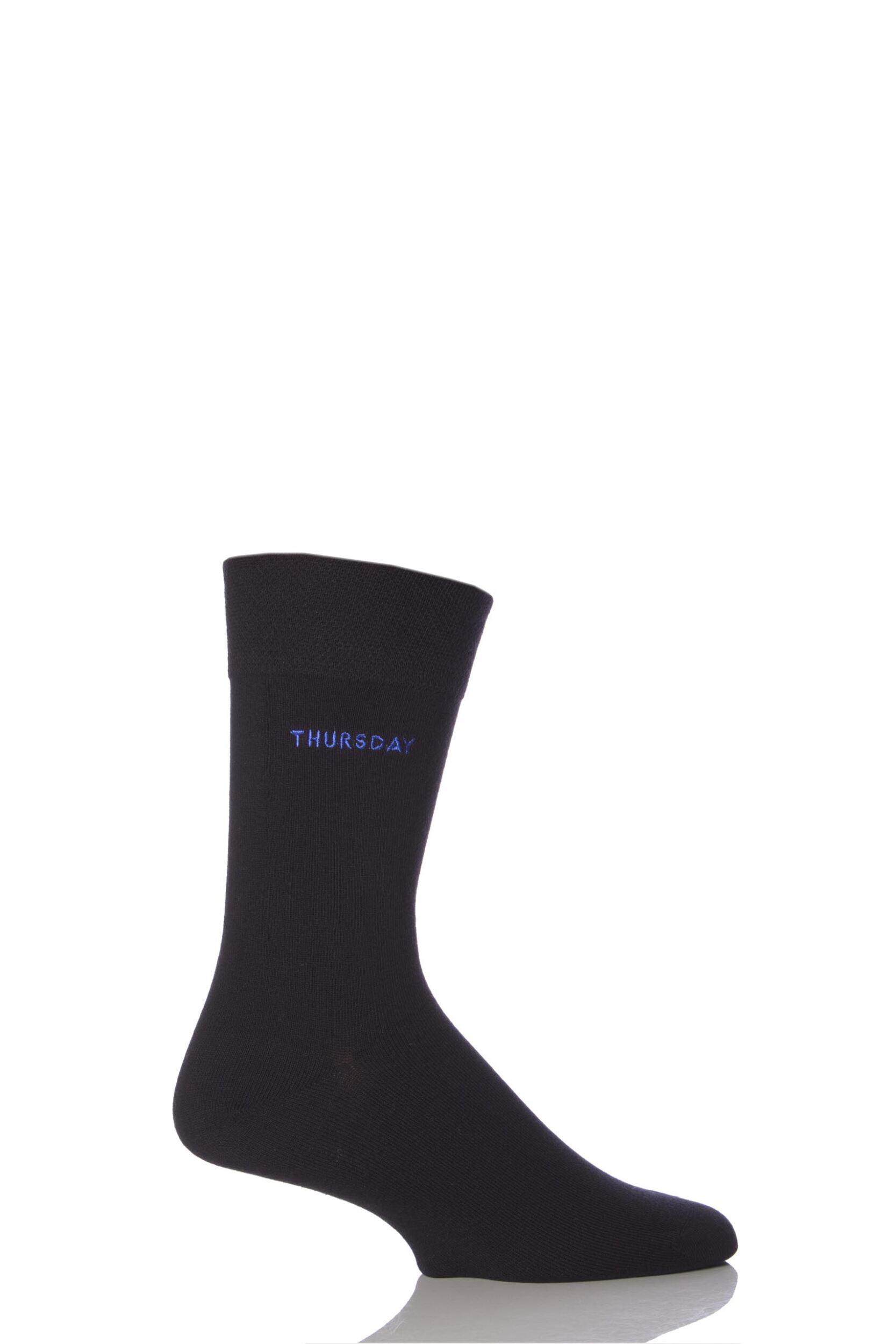 Mens 1 Pair SockShop Individual Days Of The Week Black Embroidered Socks