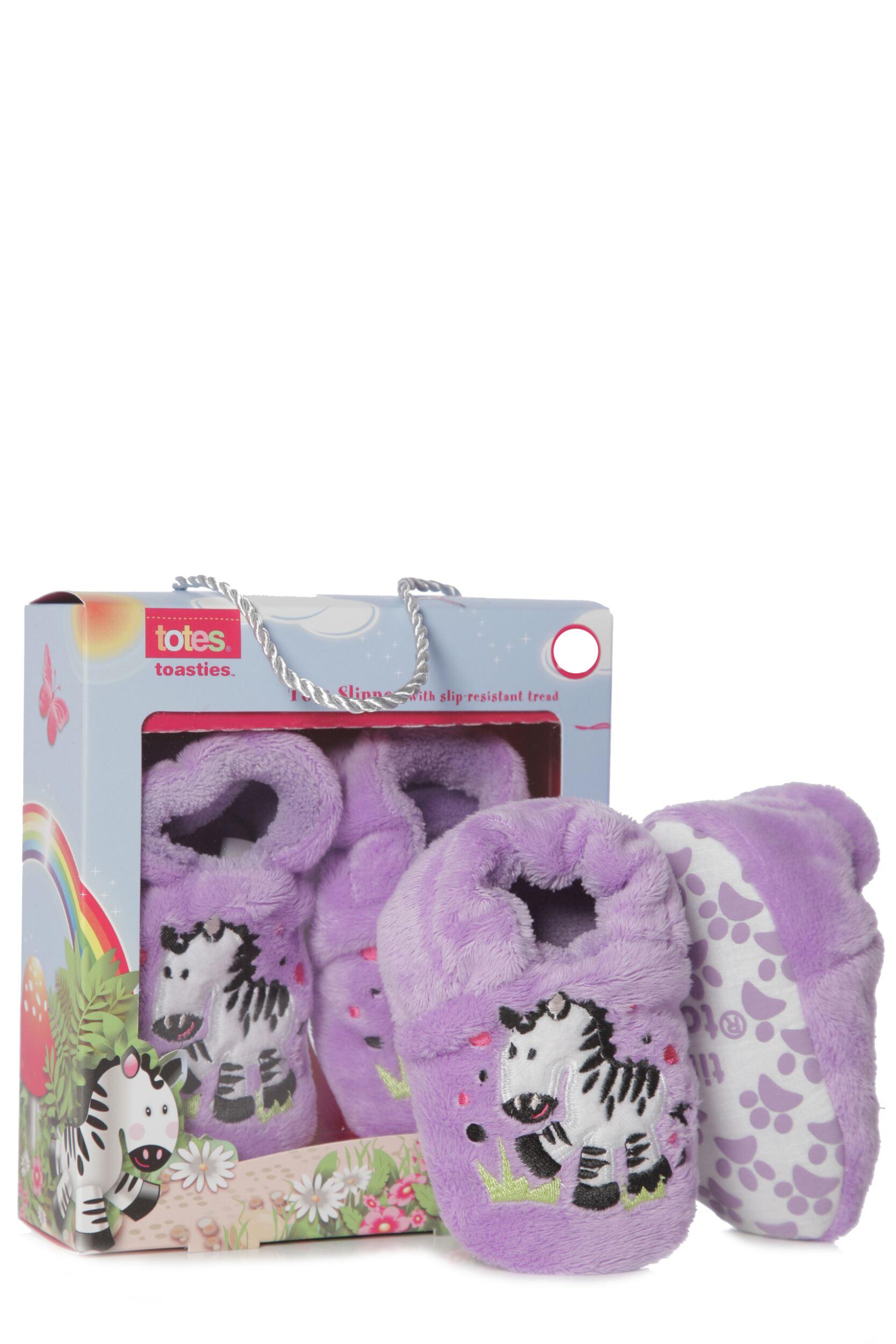 Girls 1 Pair Totes Tots Novelty Zebra Slippers