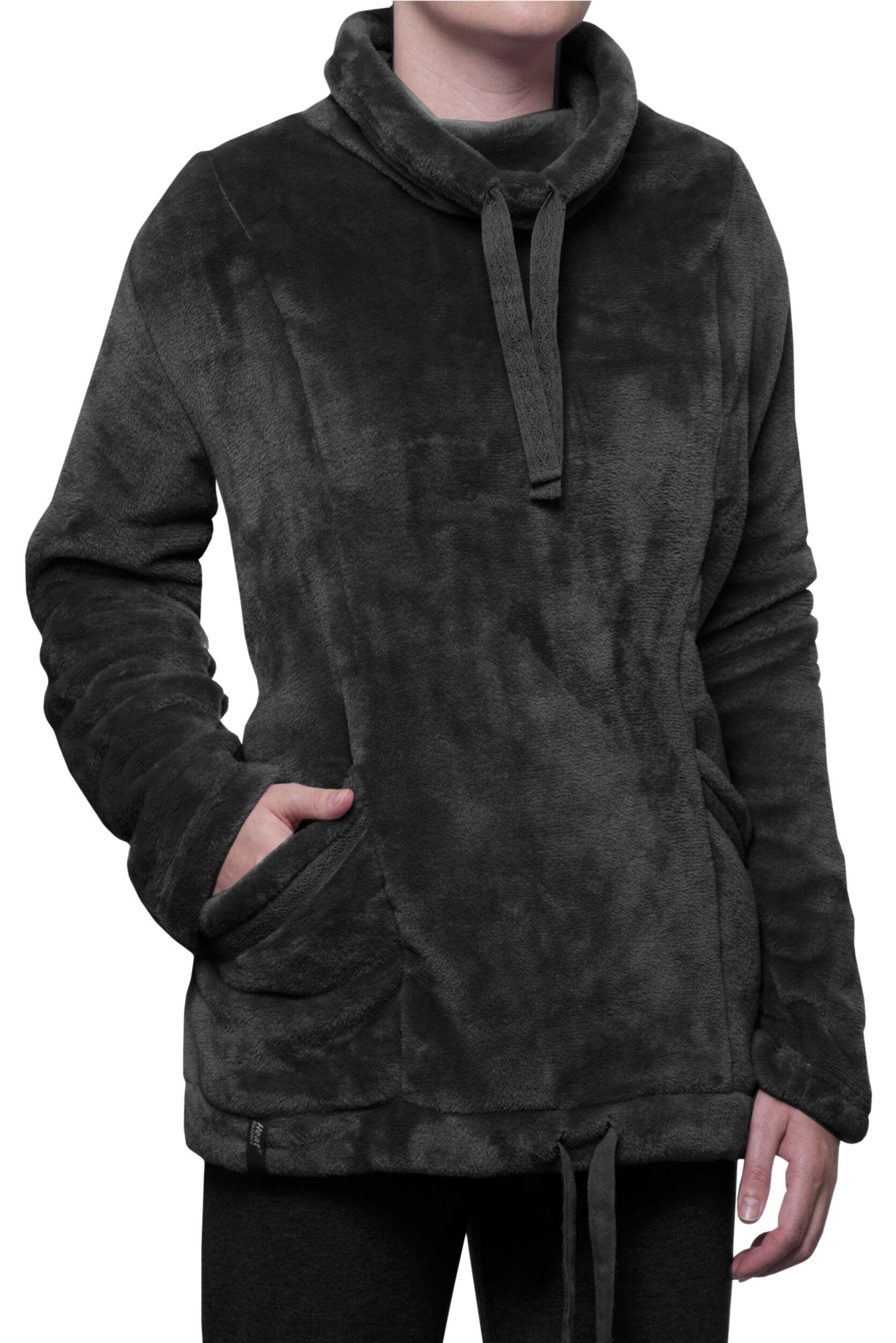 Image of Ladies SockShop Heat Holders Snugover Fleece Jumper In Black