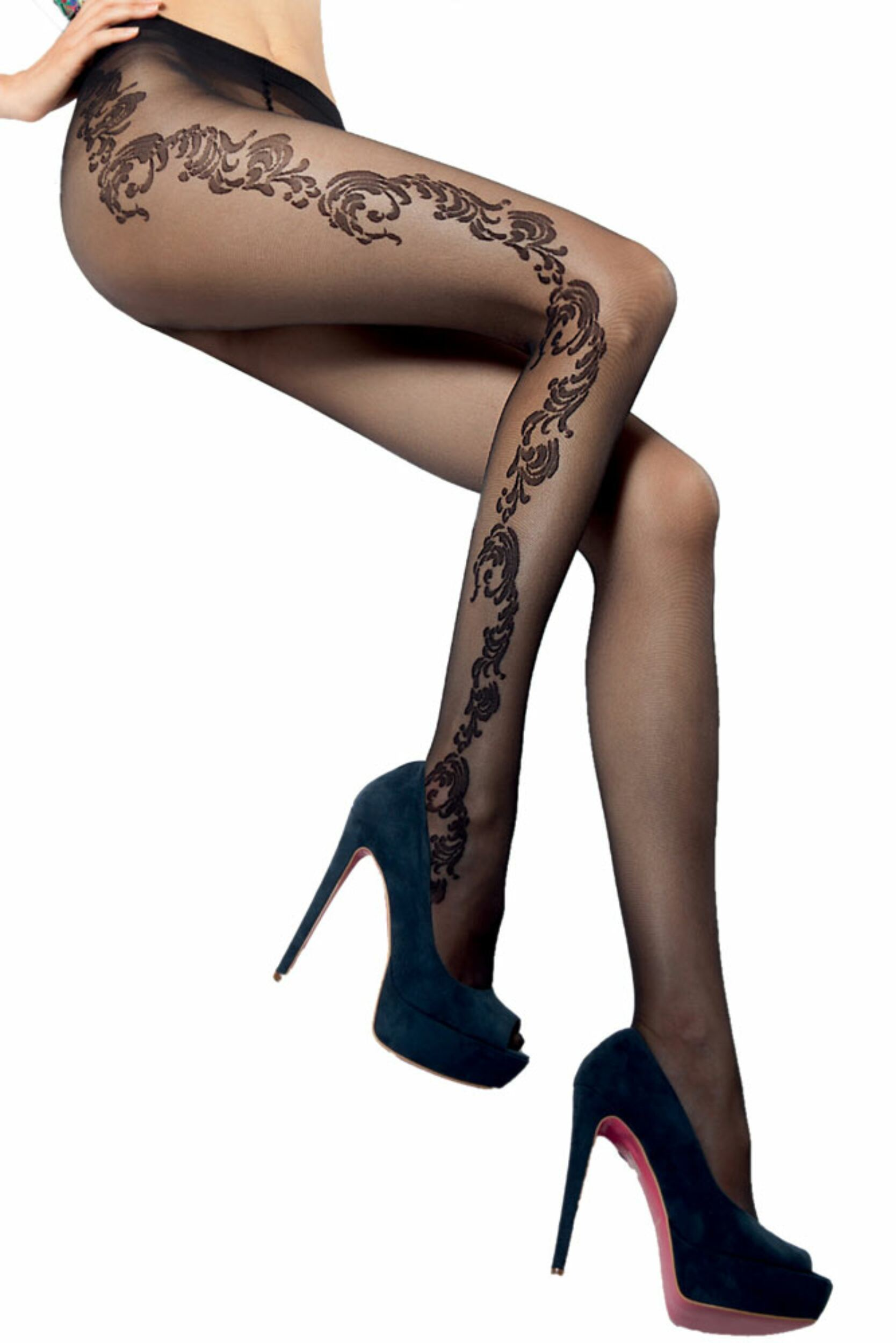 Ladies 1 Pair Levante Adriana Ornate Floral Tights