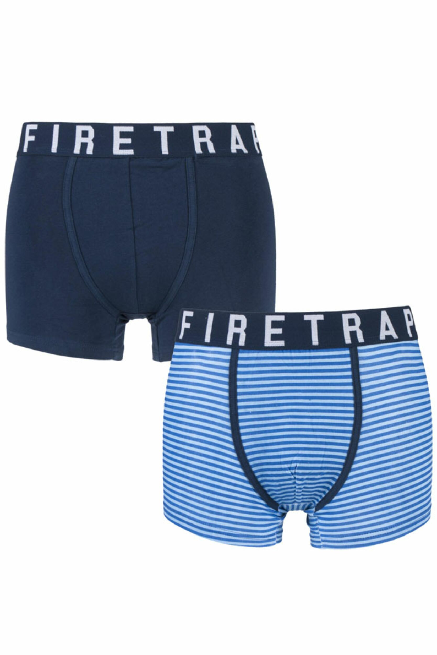 Image of Mens 2 Pack Firetrap Plain and Striped Cotton Boxer Shorts