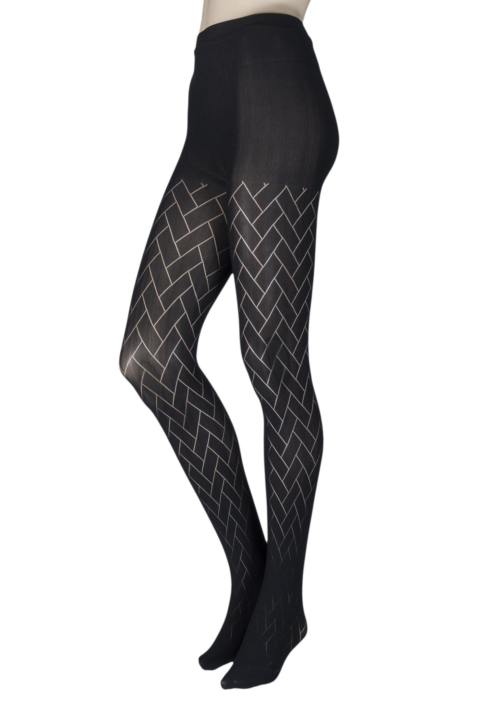 1 Pair Couture By Silky Ultimates Seamless And Ladder Proof Geometric Opaque Tights