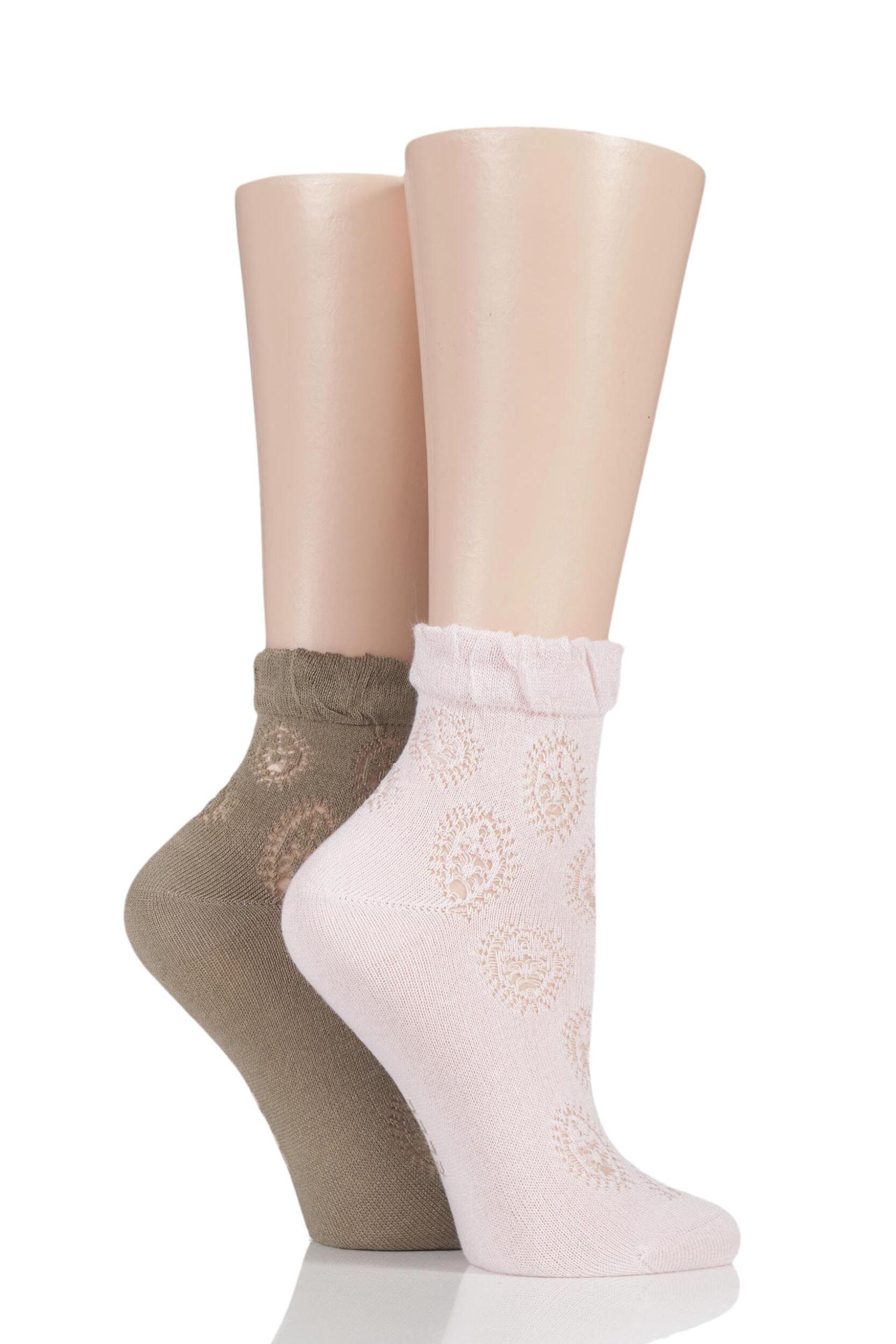 Ladies 2 Pair Elle Bamboo Lacy Anklet Socks