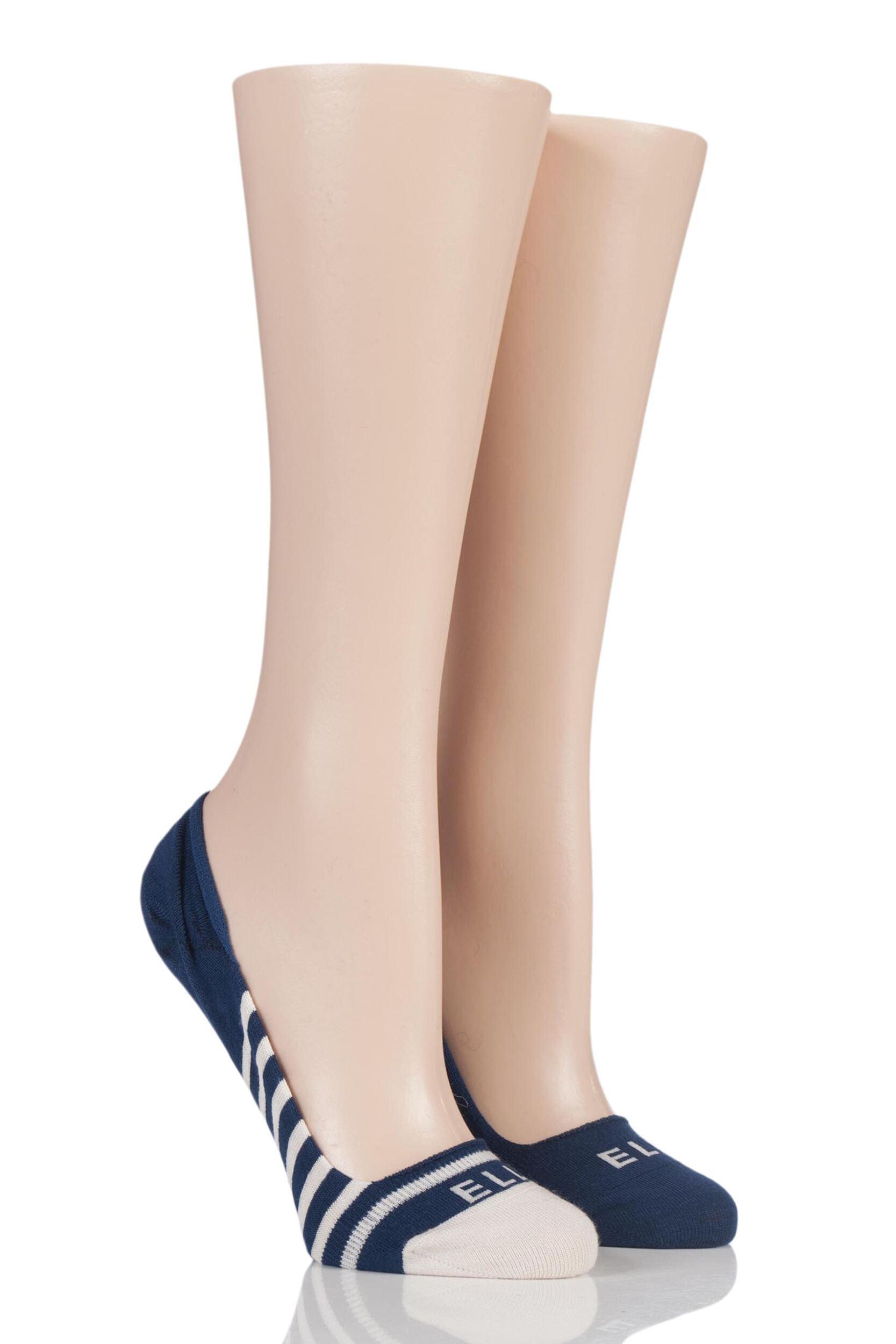Damas 2 par de bambú Elle a Rayas y Liso Seemless Zapato Calcetines del trazador de líneas