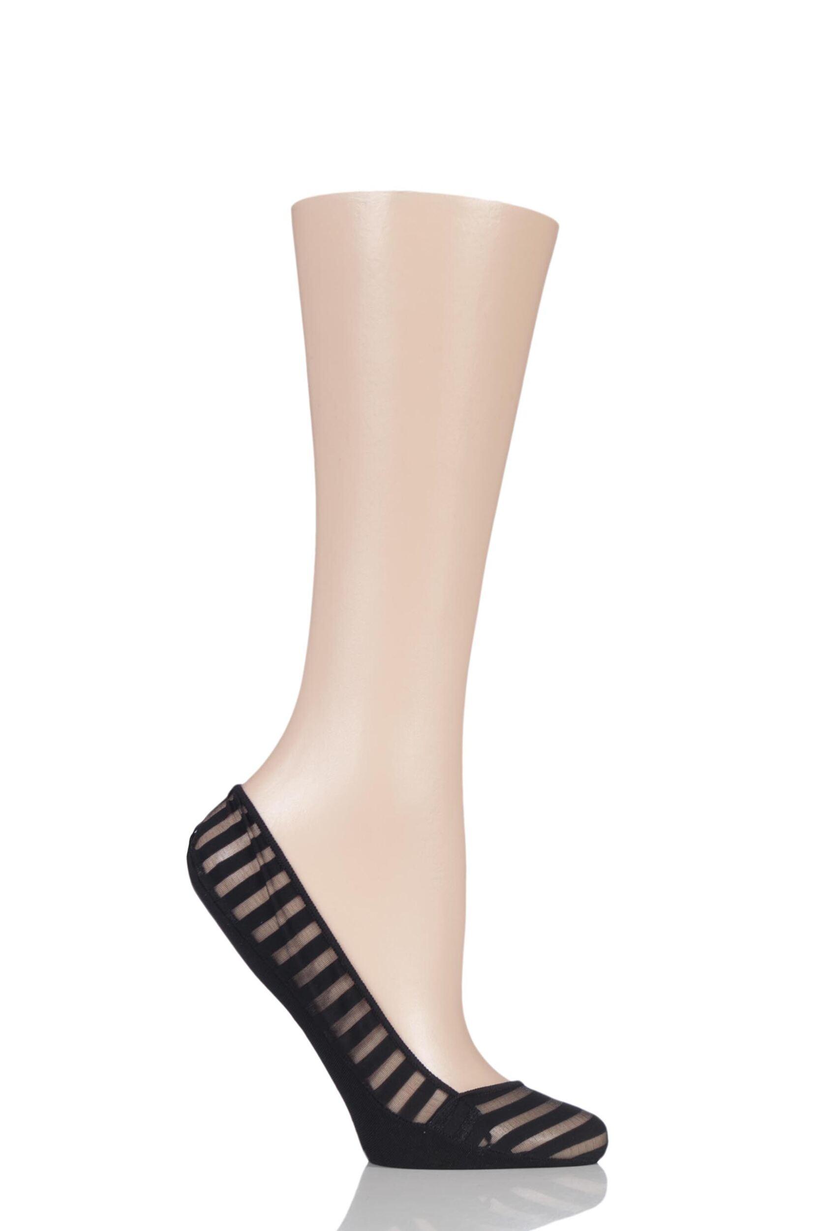 1 Pair Elle Sheer Stripe Shoe Liner Socks With Grip