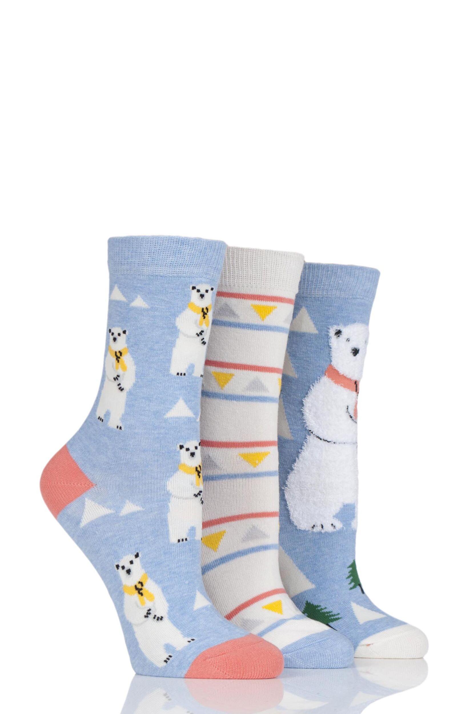 Ladies 3 Pair SockShop Wild Feet Polar Bear Cotton Socks