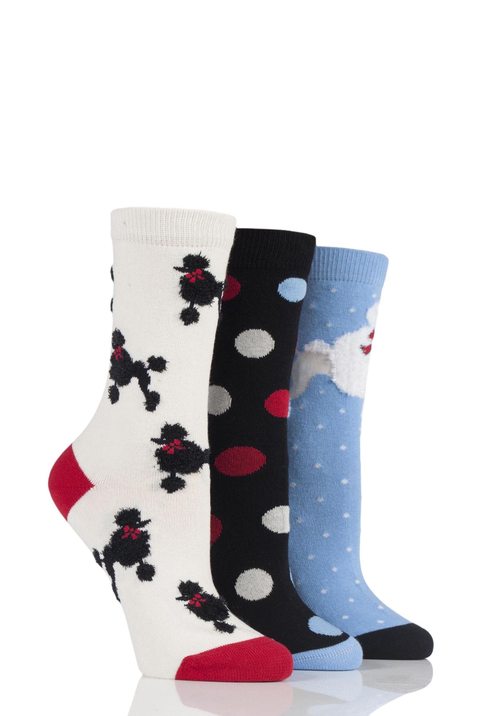 Ladies 3 Pair SockShop Just For Fun Poodle Cotton Socks