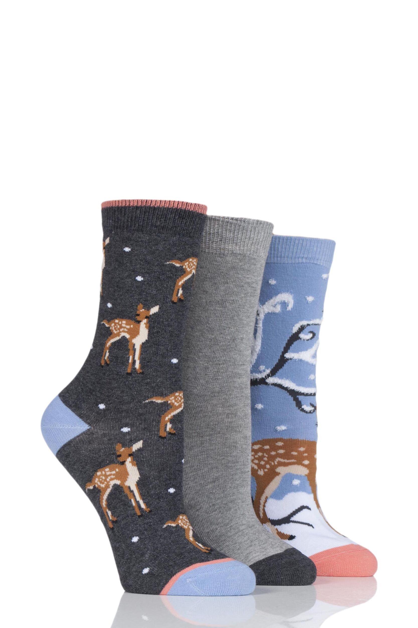 Ladies 3 Pair SockShop Wild Feet Deer Cotton Socks