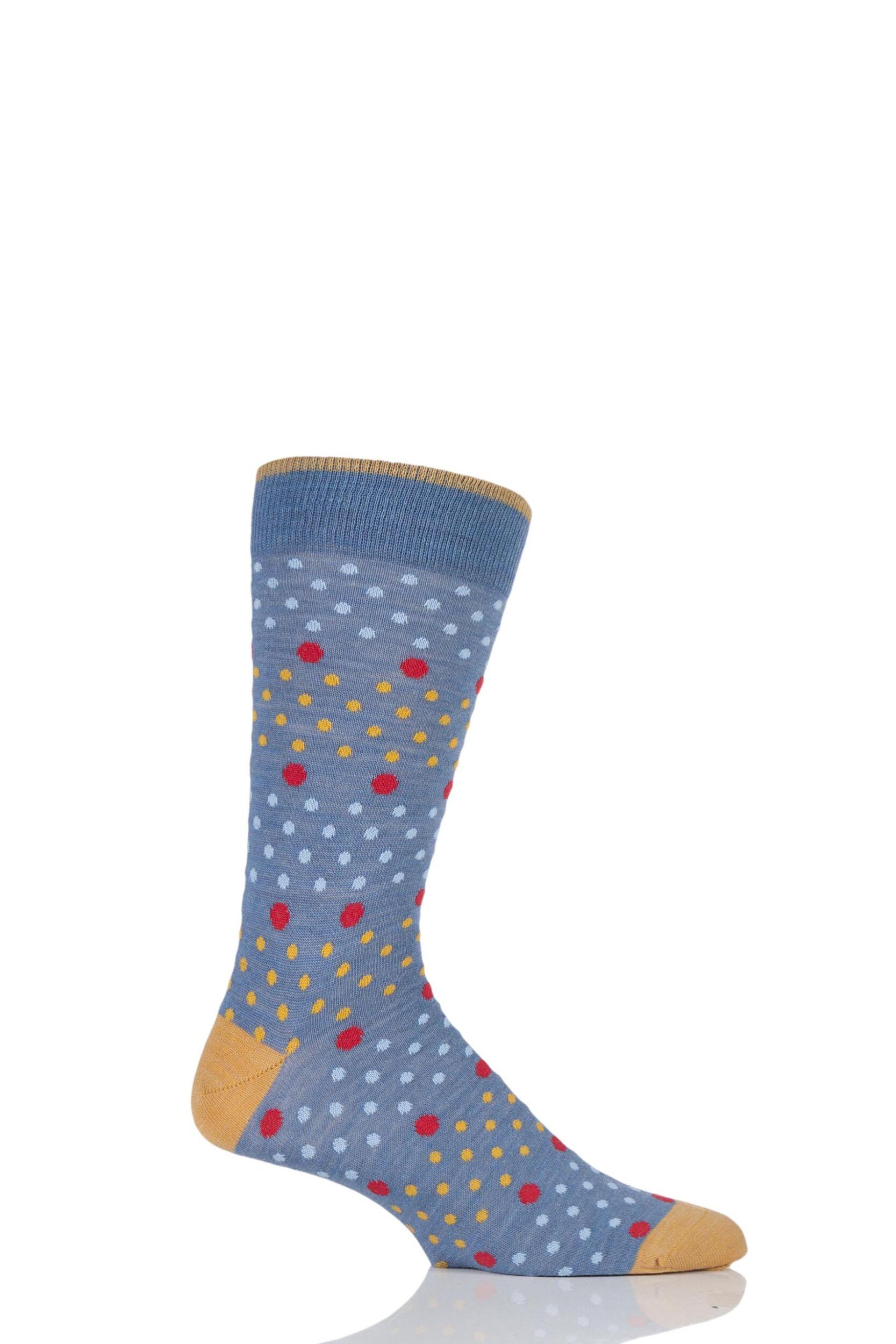 Mens 1 Pair Viyella Multi Spot and Dot Wool Cotton Socks 6-11 Mens ...