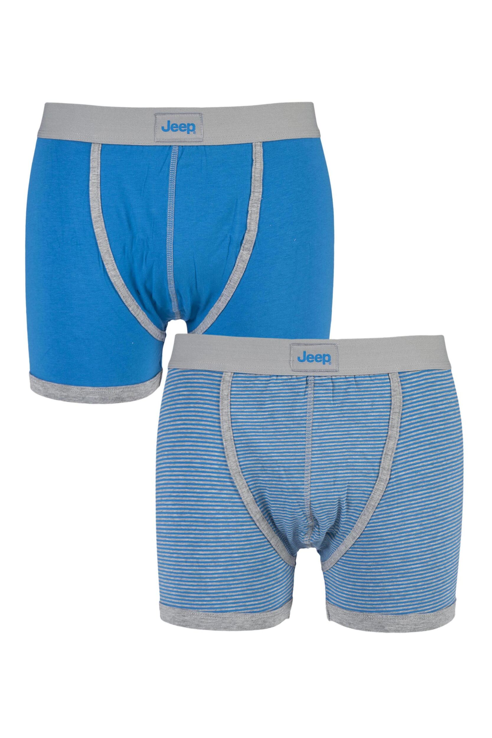 Mens 2 Pair Jeep Cotton Plain & Narrow Stripe Hipster Shorts In Royal