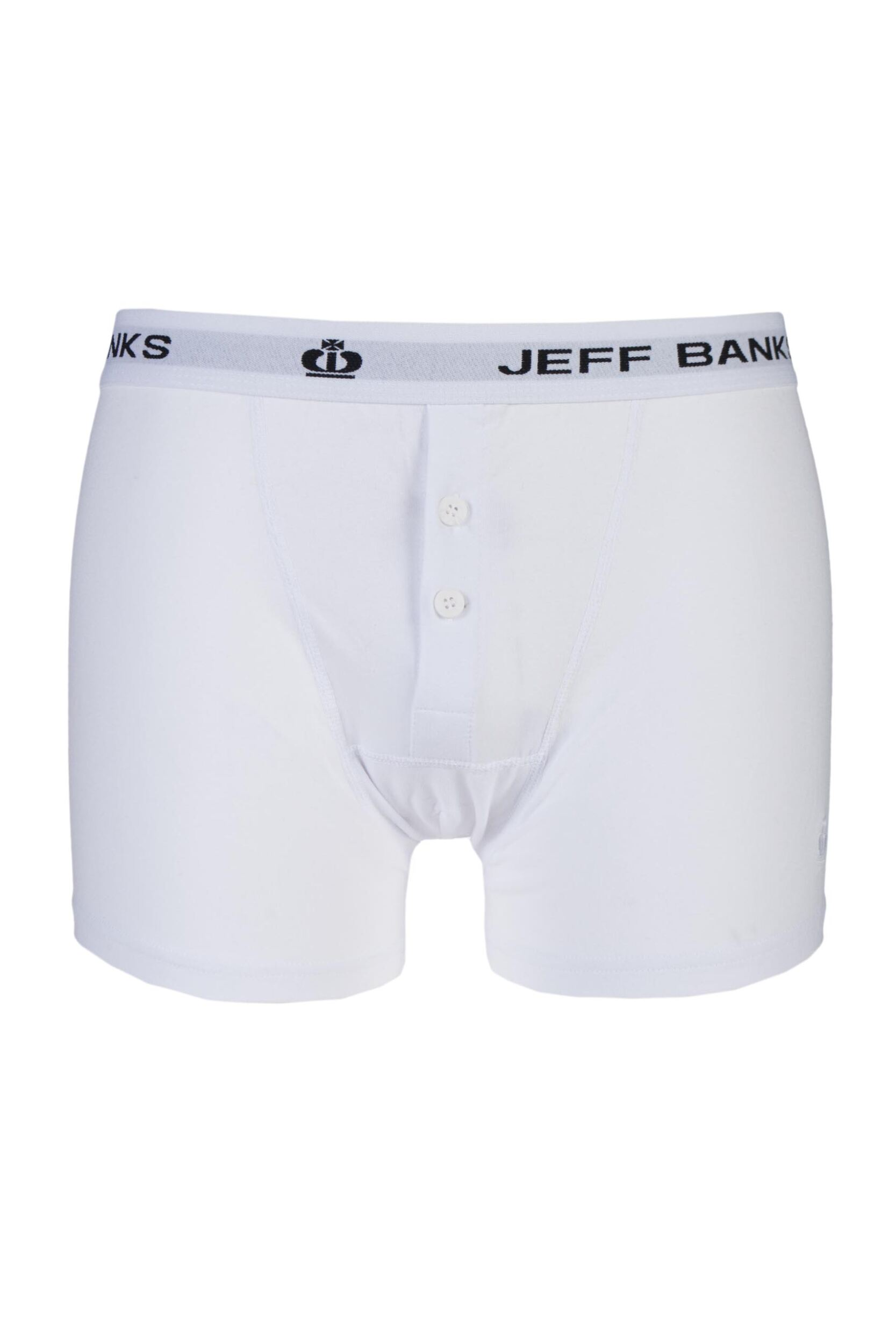 1 pack white leeds buttoned* cotton boxer shorts men's large - jeff banks