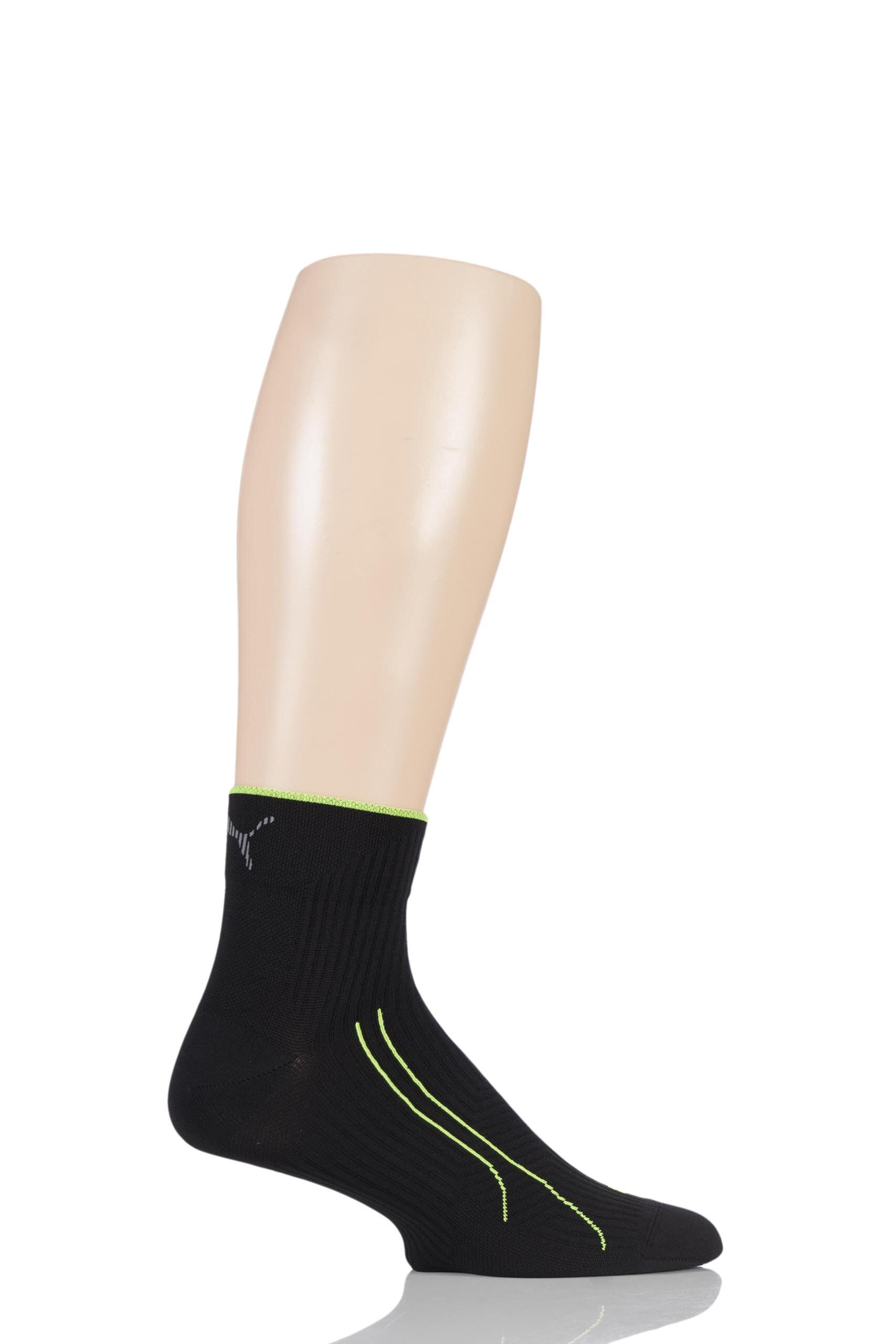 Image of 1 Pair Black Performance Running Compression Quarter Socks with Tactel Unisex 2.5-5 Unisex - Puma