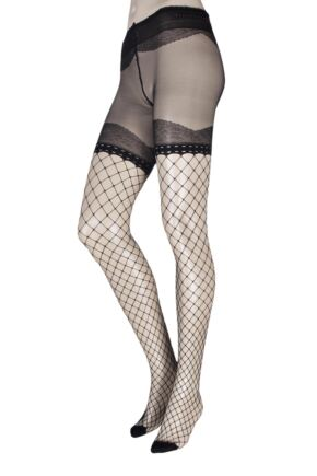 6762c3827 Ladies 1 Pair Trasparenze Crocus Sheer and Fishnet Tights