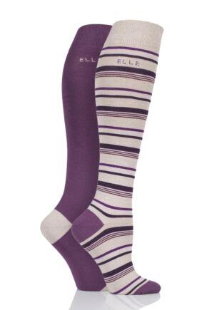 3156f990ff7 Elle Bamboo Striped and Plain Knee High Socks