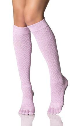 dd70282742d Ladies ToeSox Scrunch Diamond Full Toe Knee High Socks from SockShop