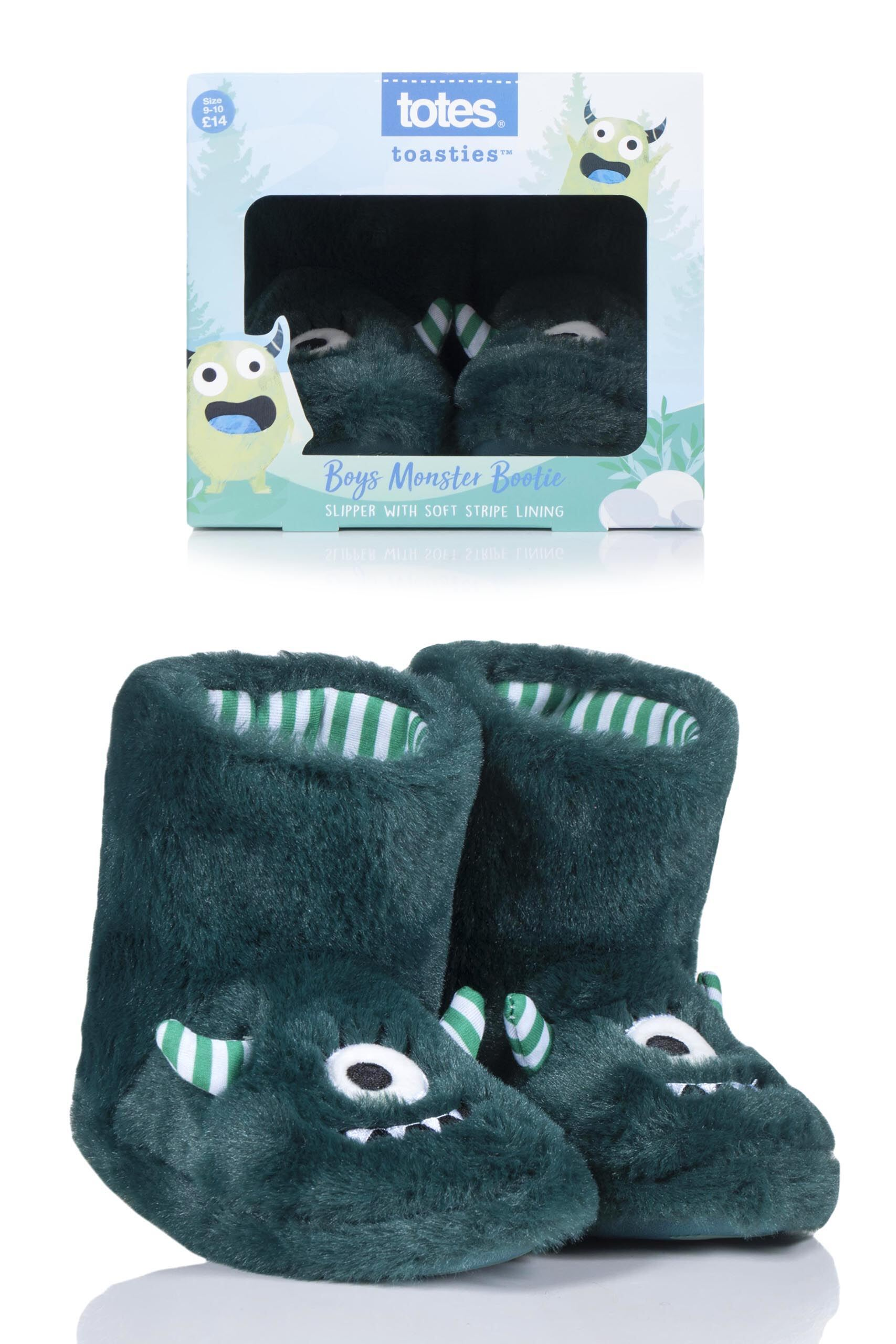 Image of 1 Pair Green Monster Slippers Kids Unisex 3-4 Years - Totes
