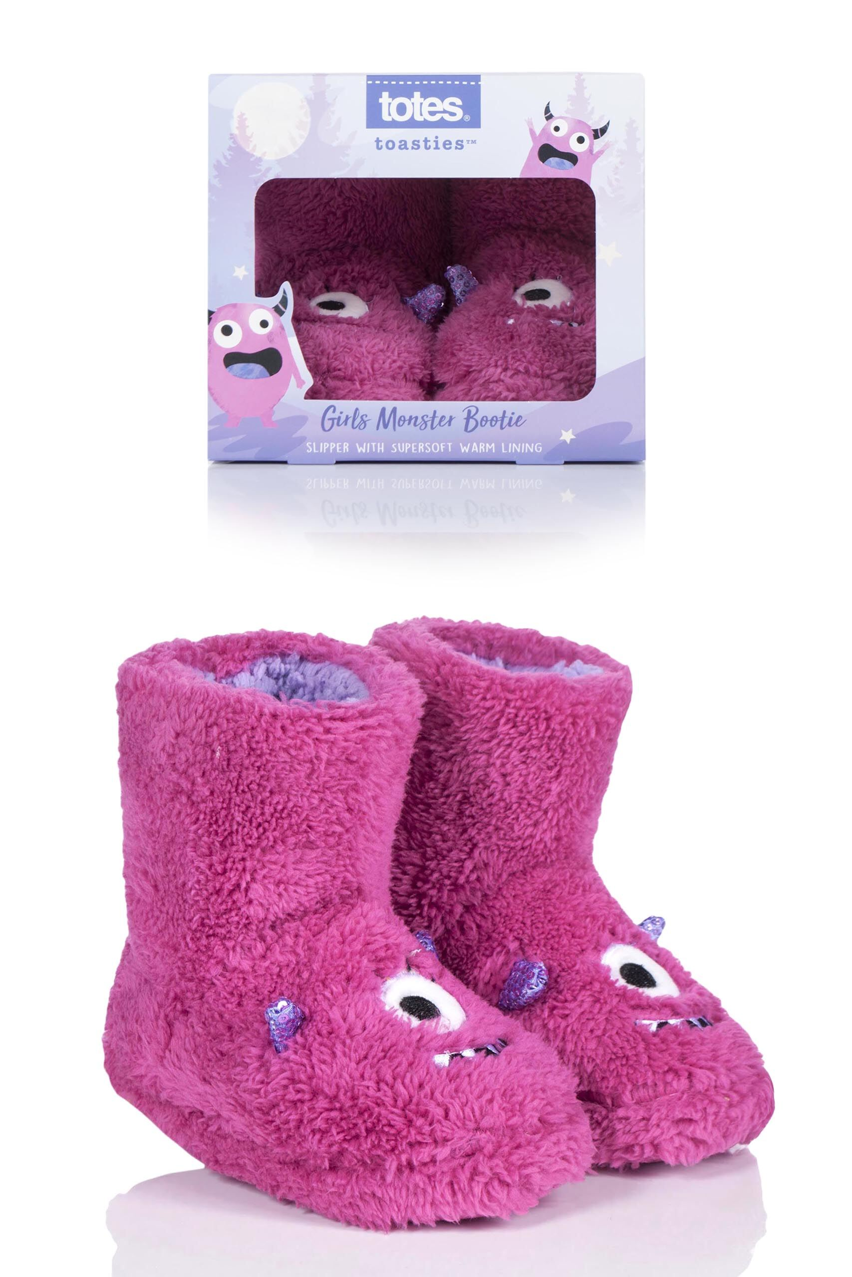 Image of 1 Pair Pink Monster Slippers Kids Unisex 5-6 Years - Totes
