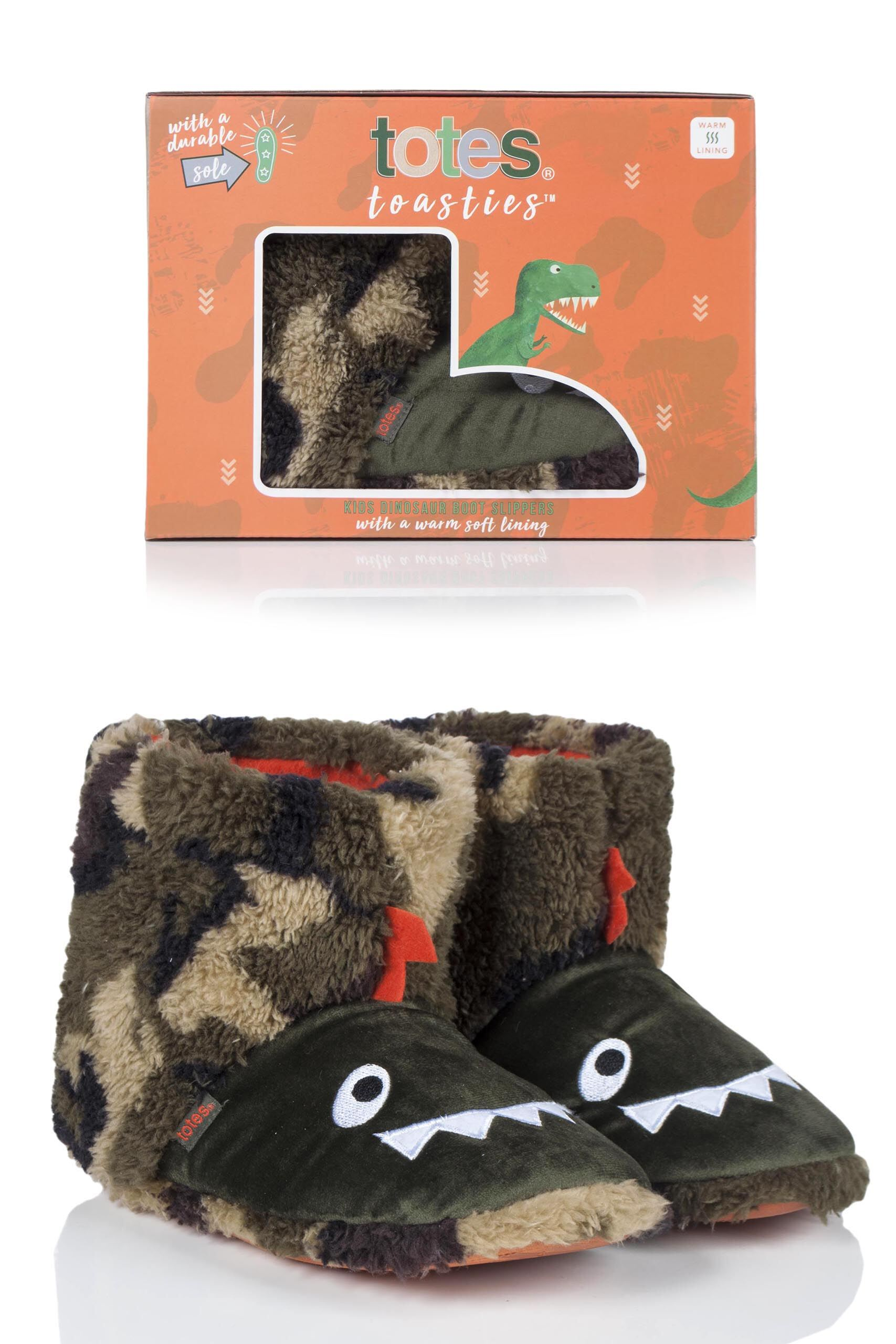 Image of 1 Pair Dinosaur Lined Bootie Slippers Girls 9-10 Years - Totes