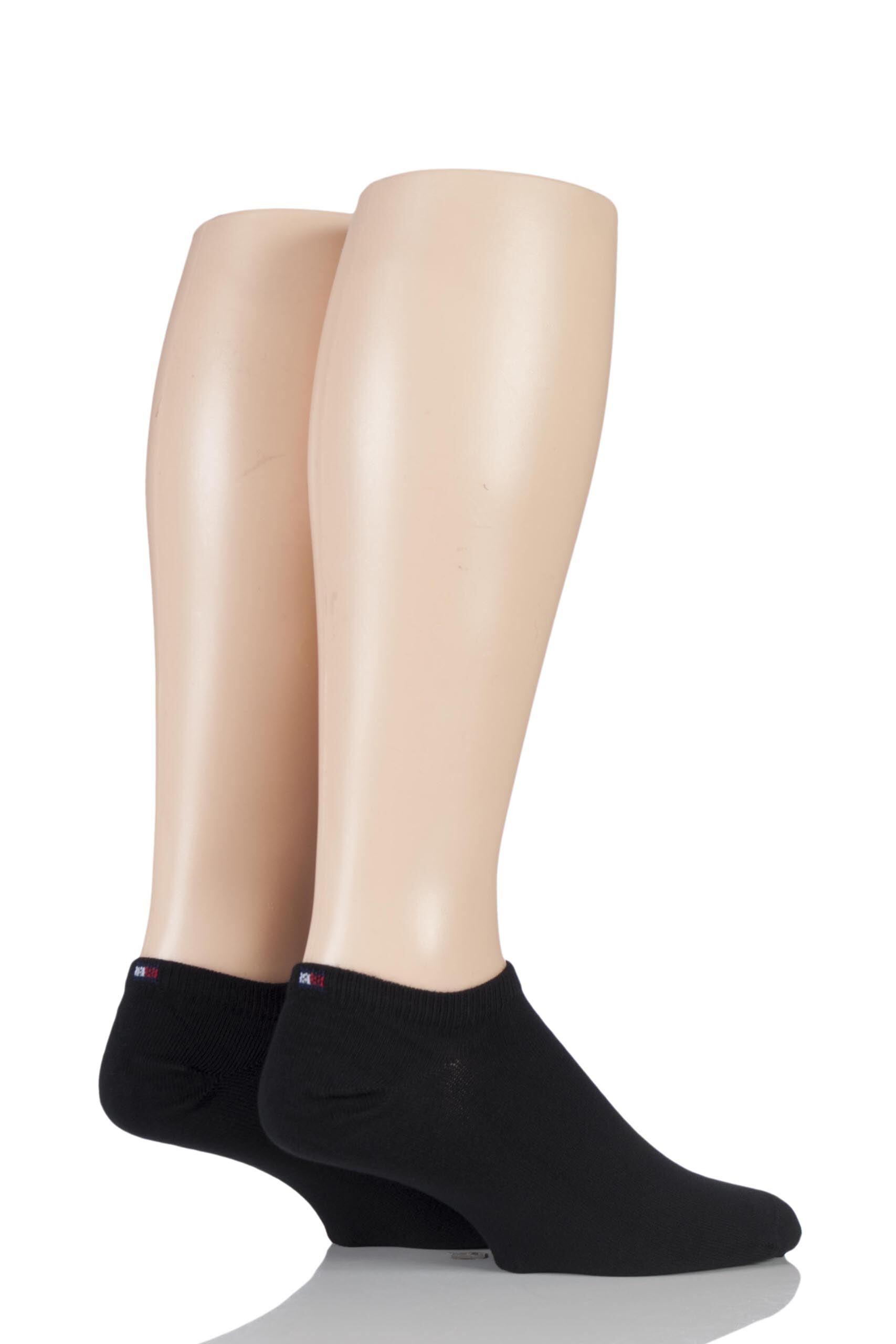 2 Pair Black Plain Cotton Sneaker Socks Men's 6-8 Mens - Tommy Hilfiger