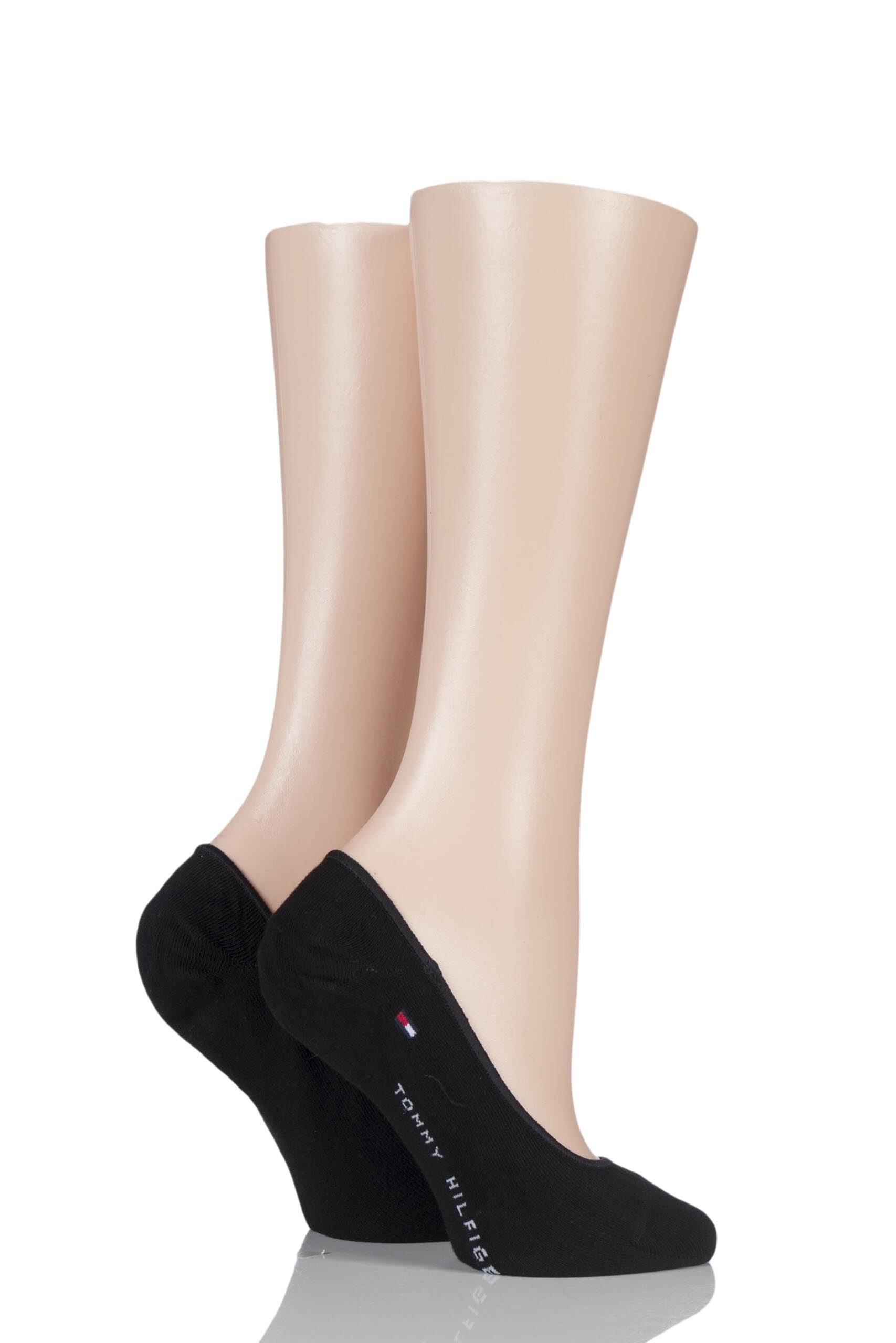 Image of 2 Pair Black Plain Cotton Invisible Footie Socks Ladies 2.5-5 Ladies - Tommy Hilfiger