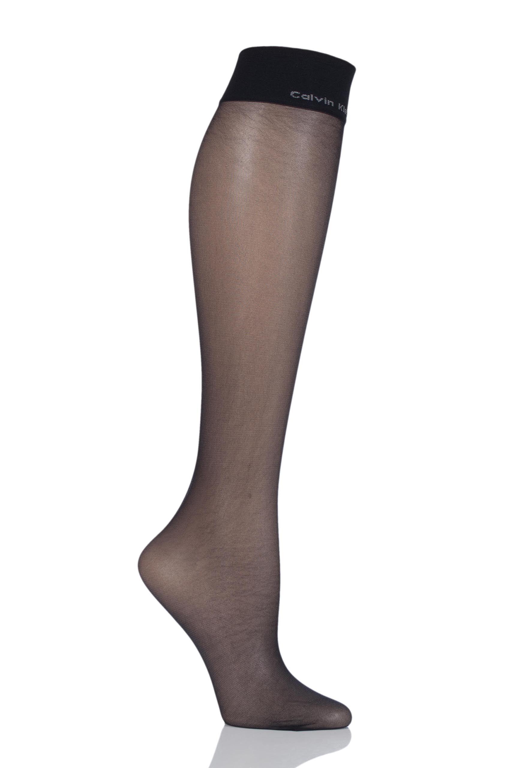 Image of 1 Pair Black Sheer Essentials 15 Denier Knee Highs Ladies One Size - Calvin Klein