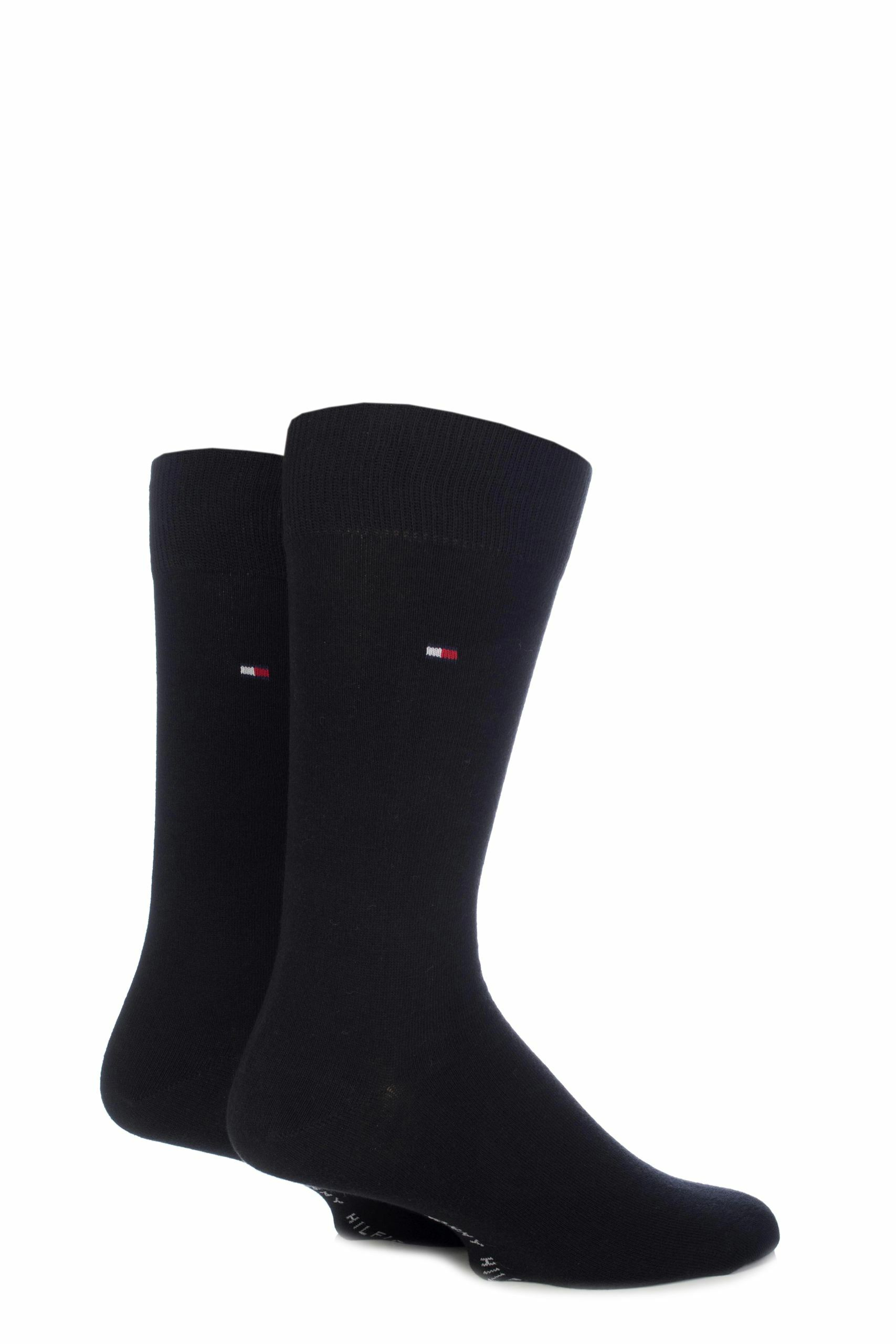 Image of 2 Pair Black Classic Plain Cotton Socks Men's 12-14 Mens - Tommy Hilfiger