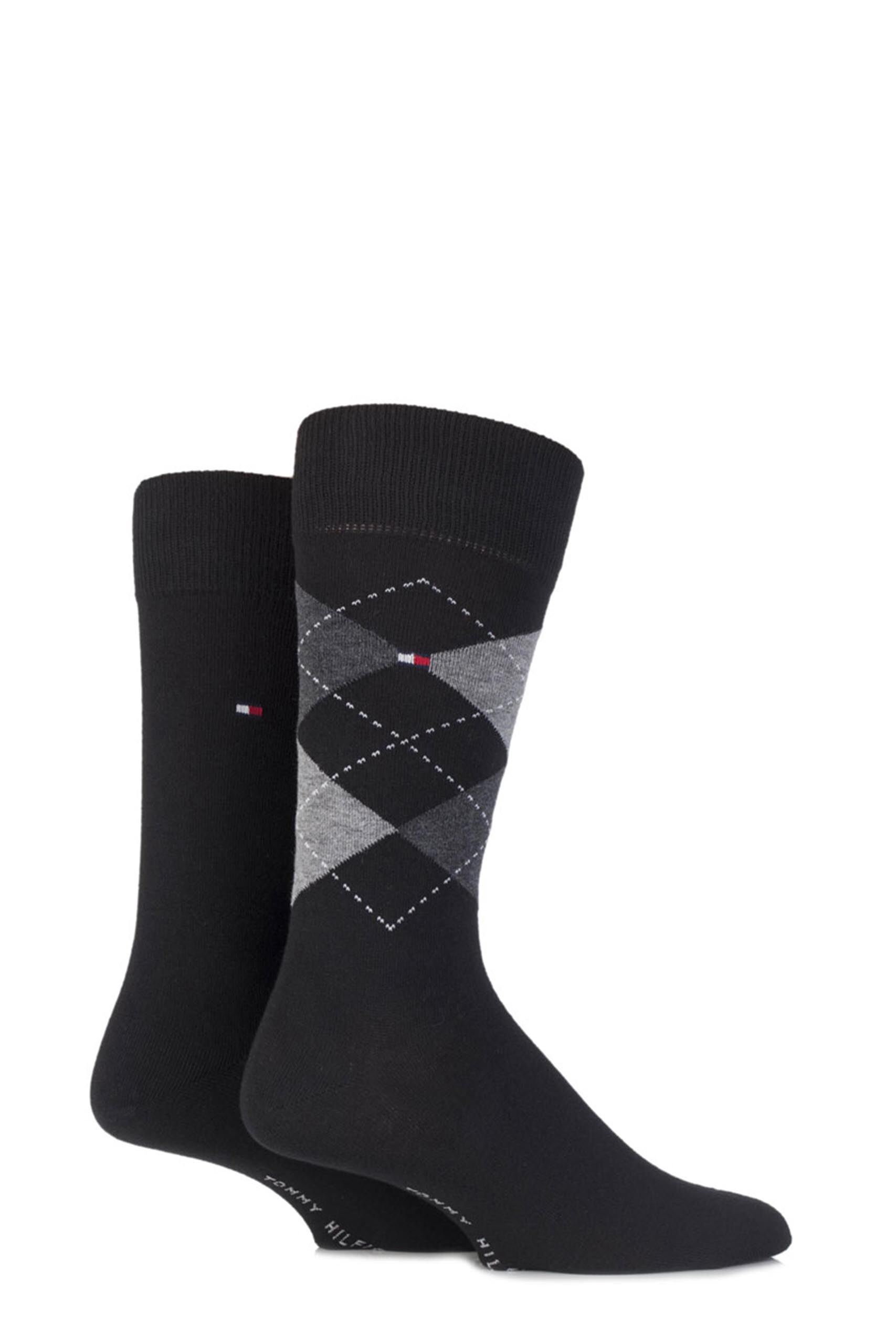 Image of 2 Pair Black Classic Tommy Argyle and Plain Socks Men's 6-8 Mens - Tommy Hilfiger